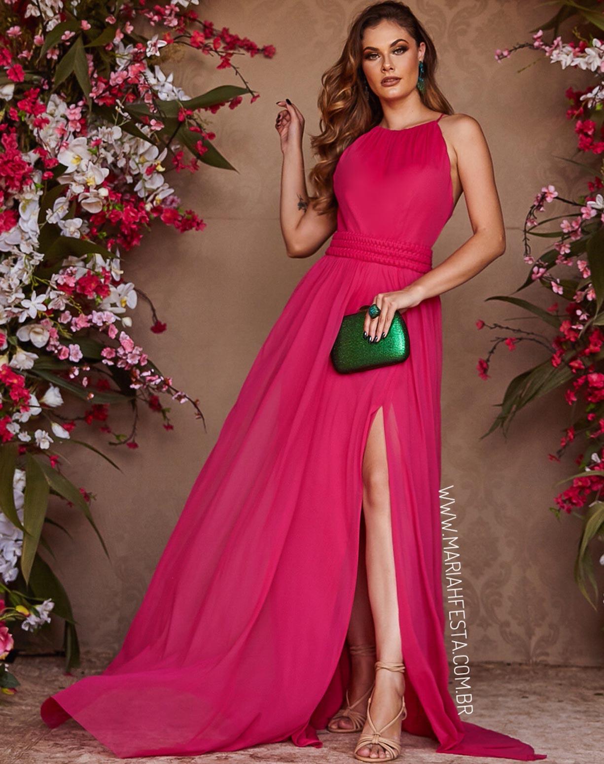 Vestido Pink em Tule com Fenda e Cinto em Macramê
