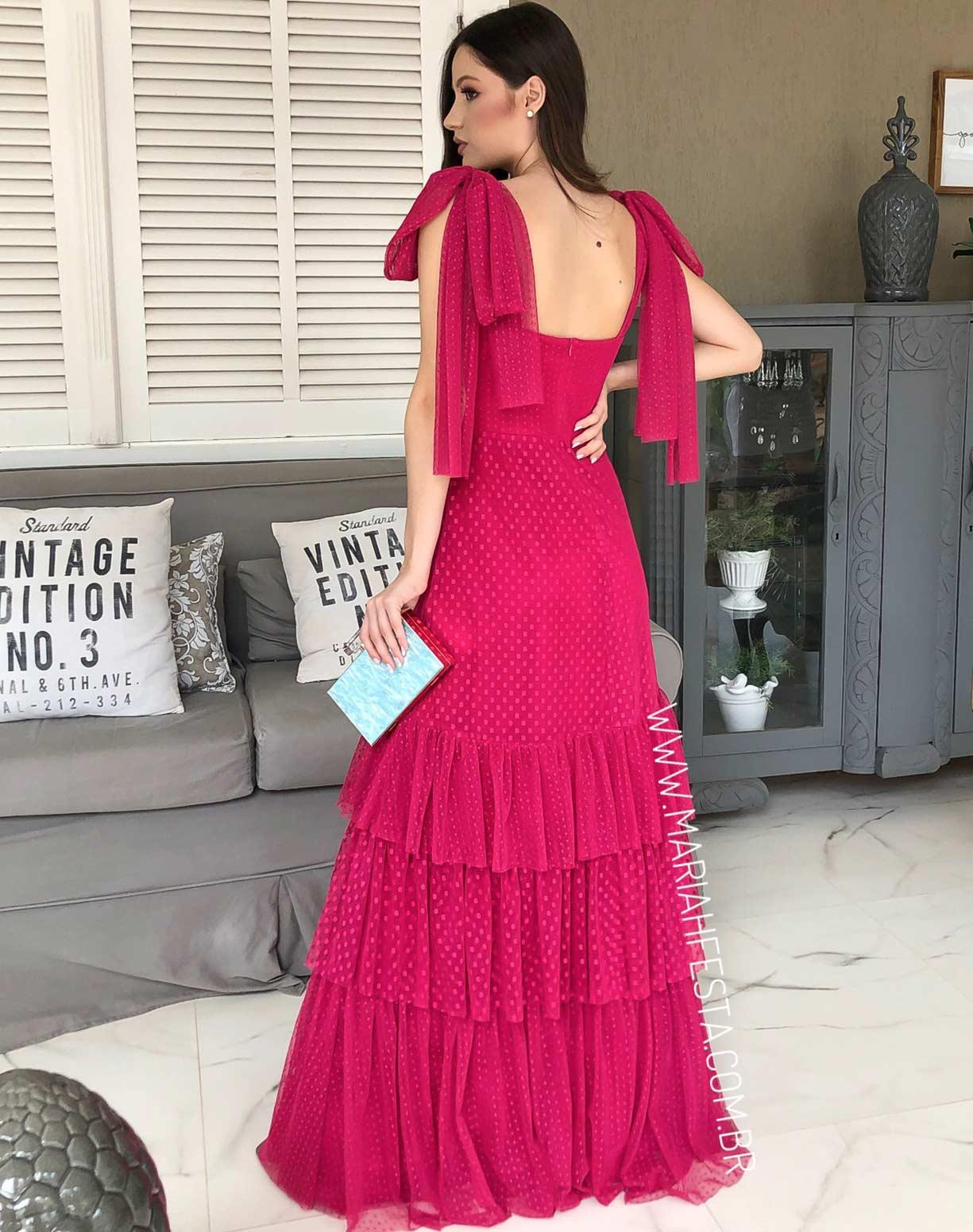 Vestido Pink em Tule Texturizado com Alça de Amarrar