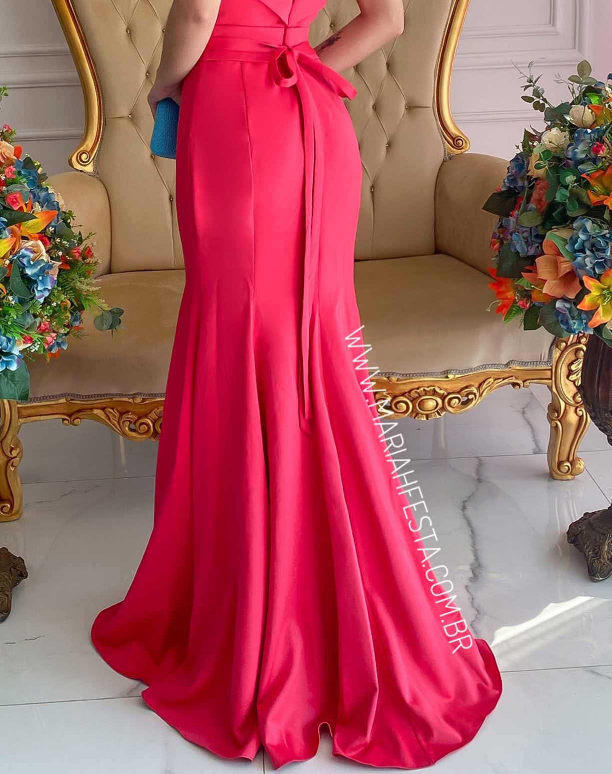 Vestido Pink Sereia em Crepe de Seda