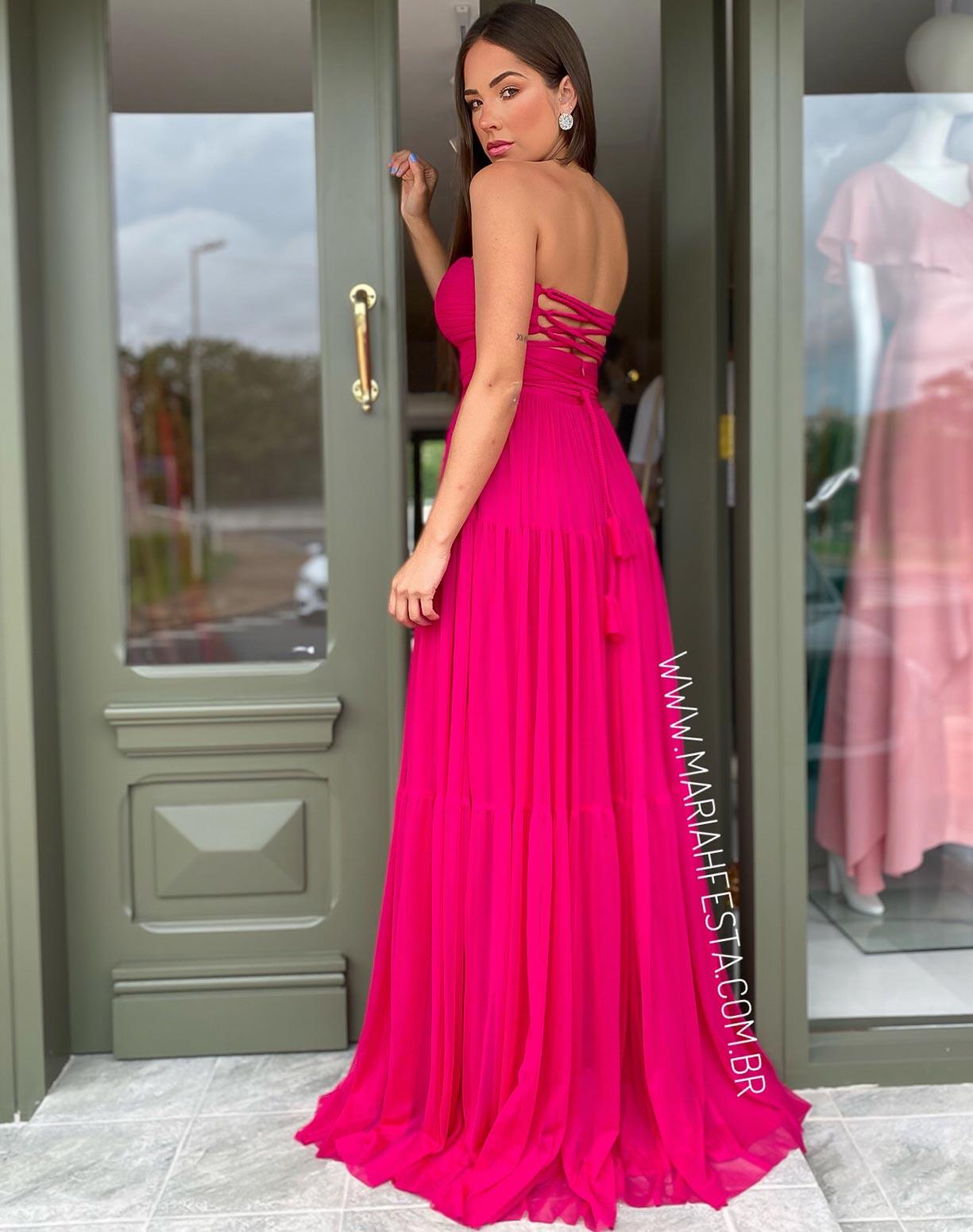 Vestido Pink Tomara que Caia em Tule