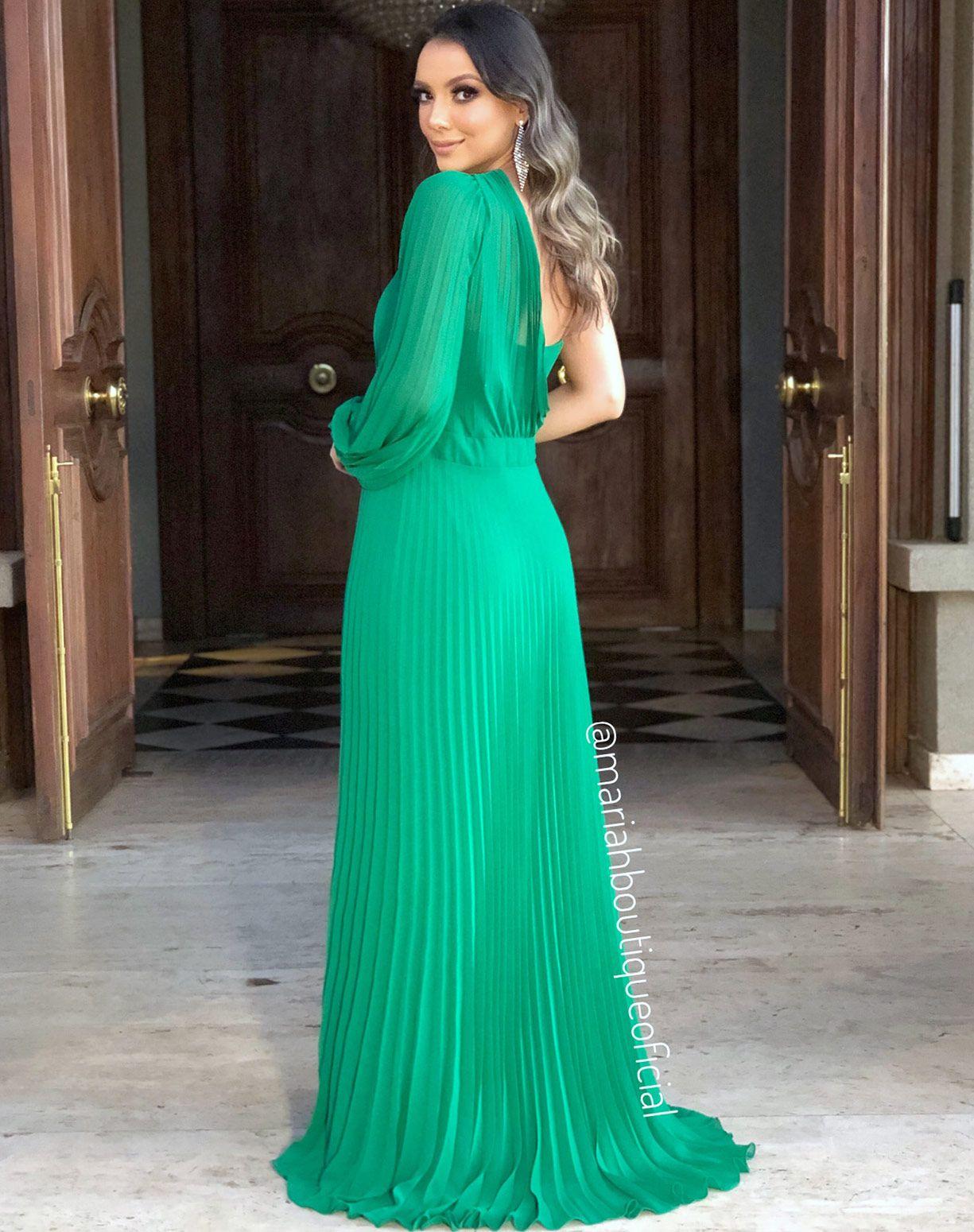 Vestido Verde Plissado de Um Ombro Só