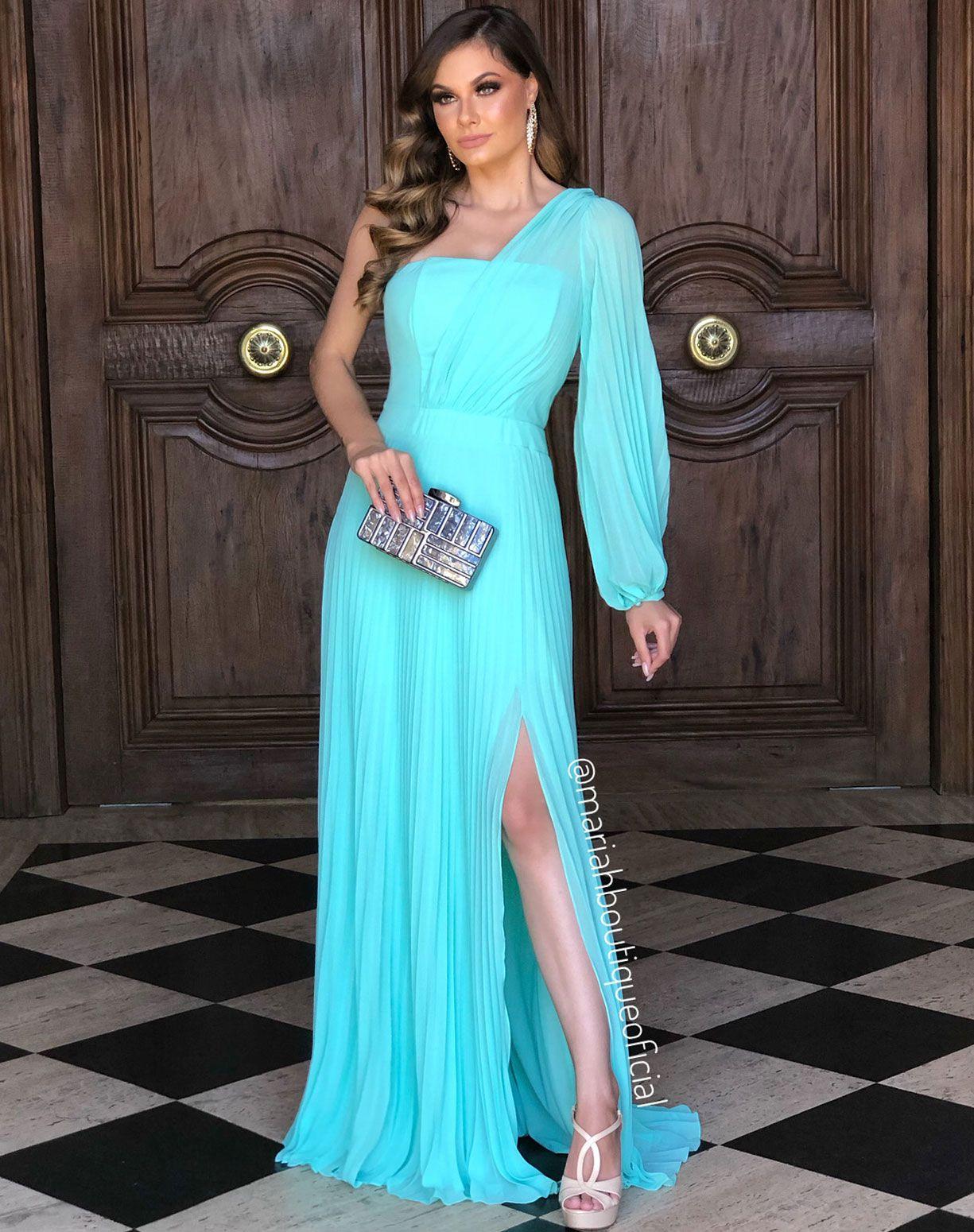 Vestido Tiffany Plissado de Um Ombro Só