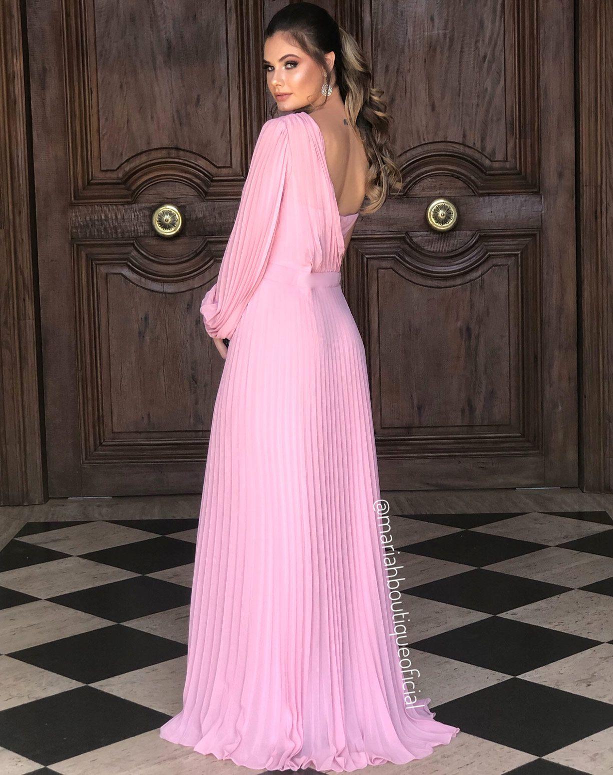 Vestido Rose Plissado de Um Ombro Só