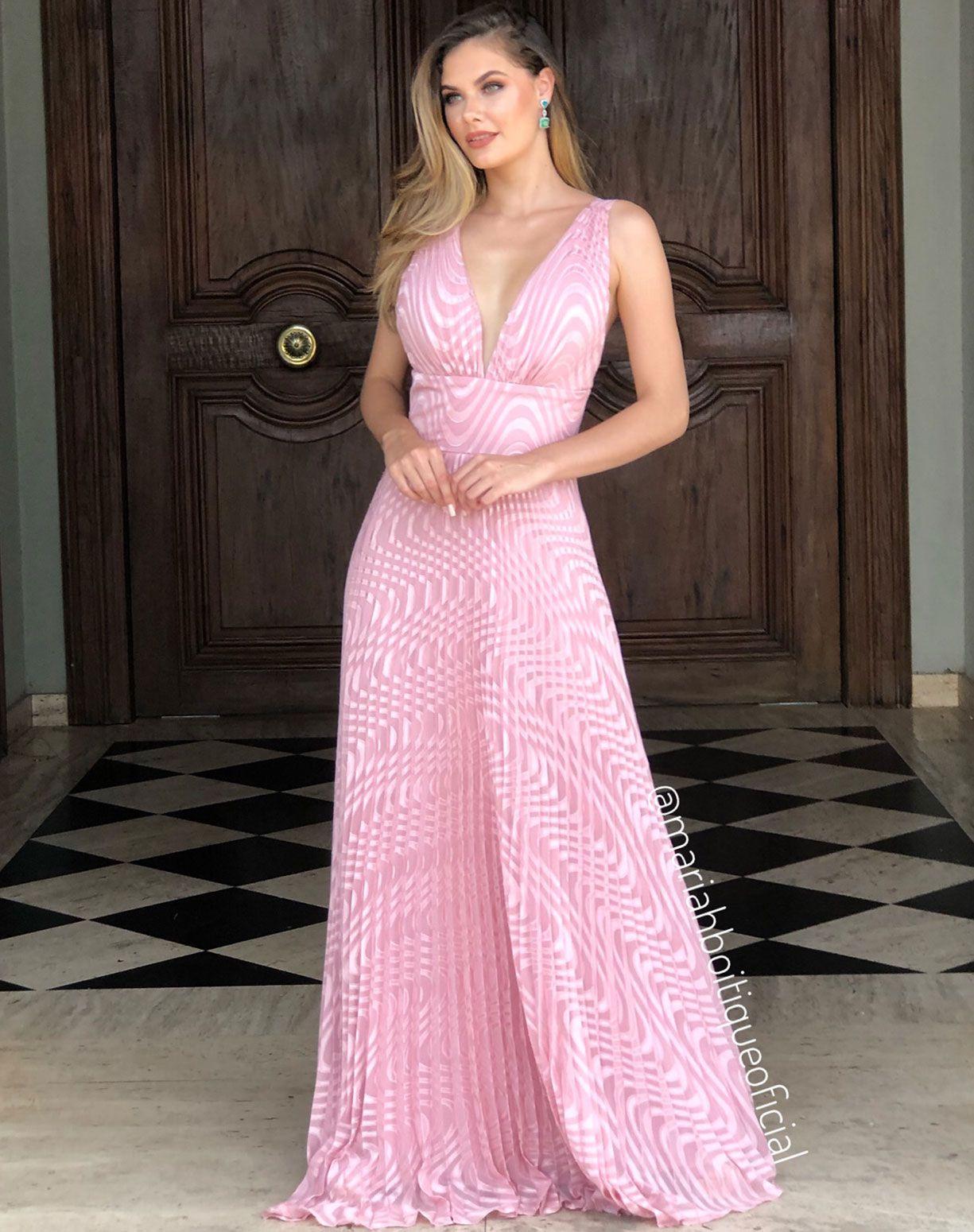 Vestido Rose Plissado e Texturizado