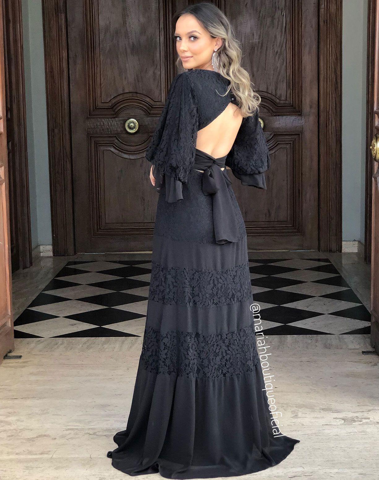 Vestido Preto em Renda e Musseline
