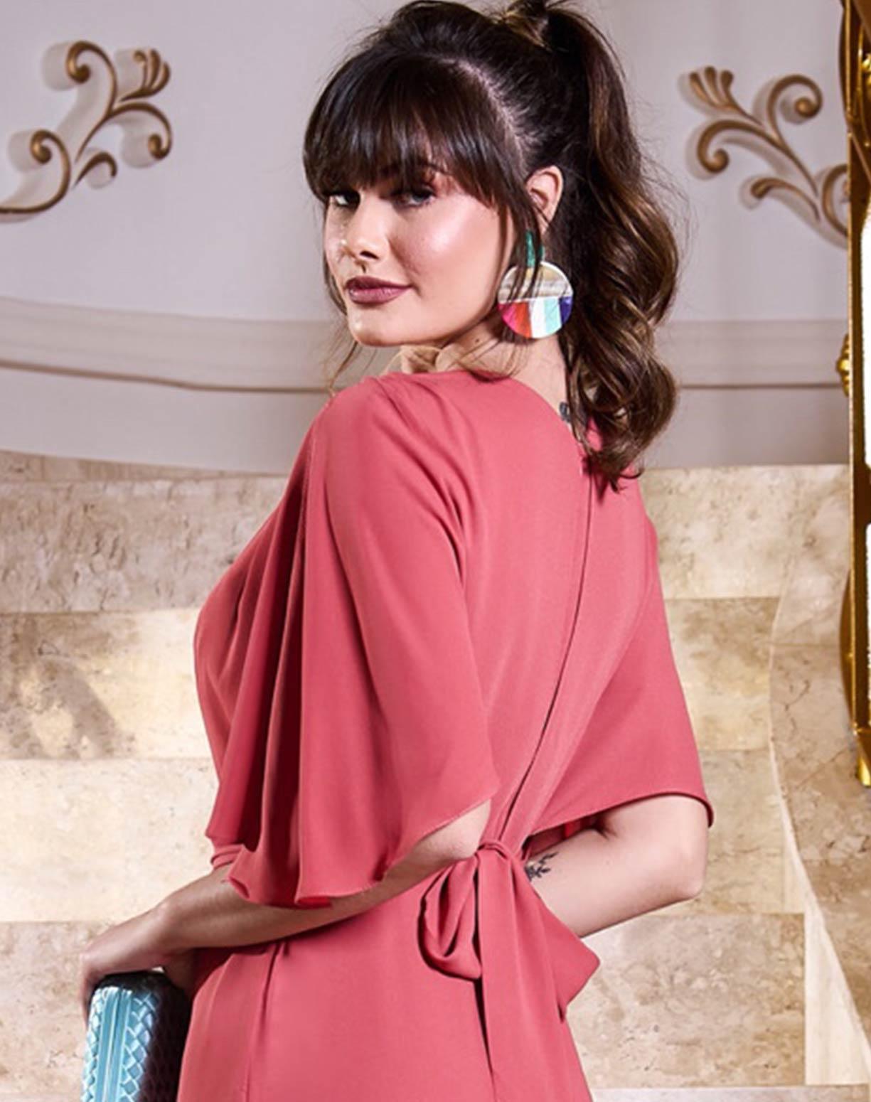 Vestido Rosa Antigo com Manga Curta Godê