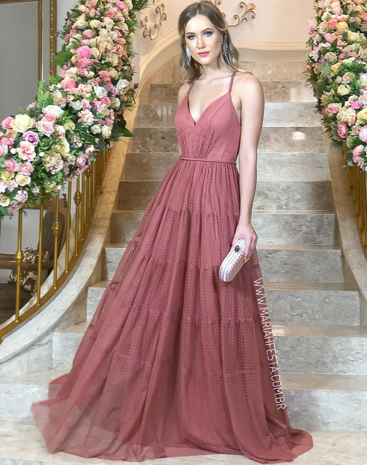 Vestido Rosa Antigo em Tule Texturizado