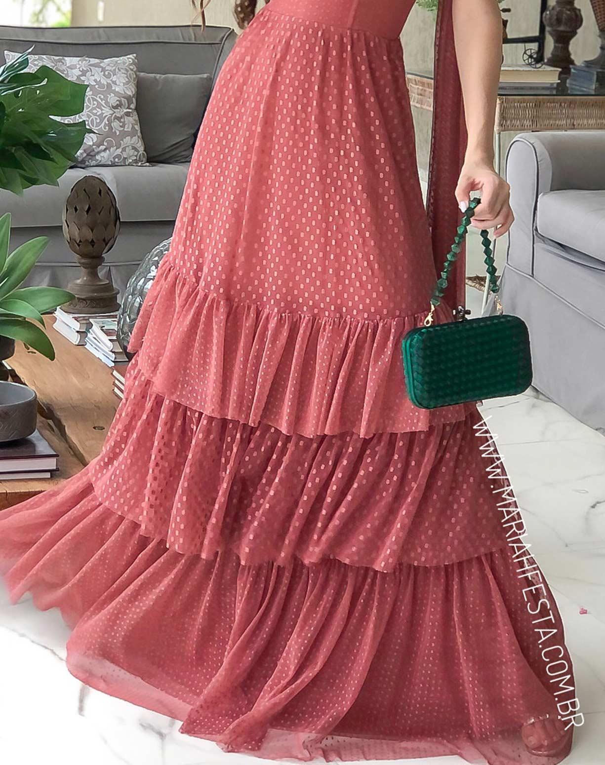Vestido Rosa Antigo em Tule Texturizado com Alça de Amarrar