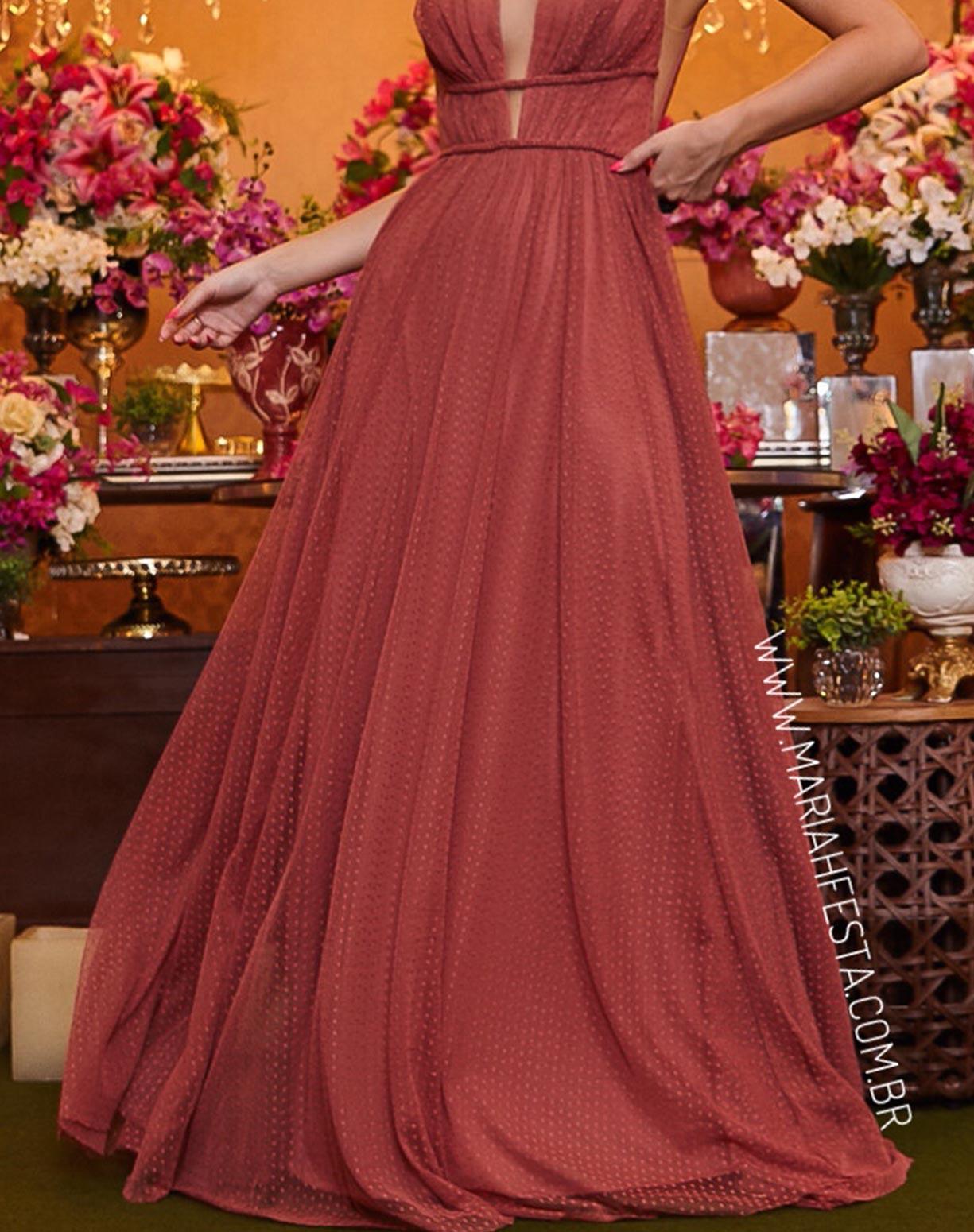 Vestido Rosa Antigo em Tule Texturizado com Saia Evasê