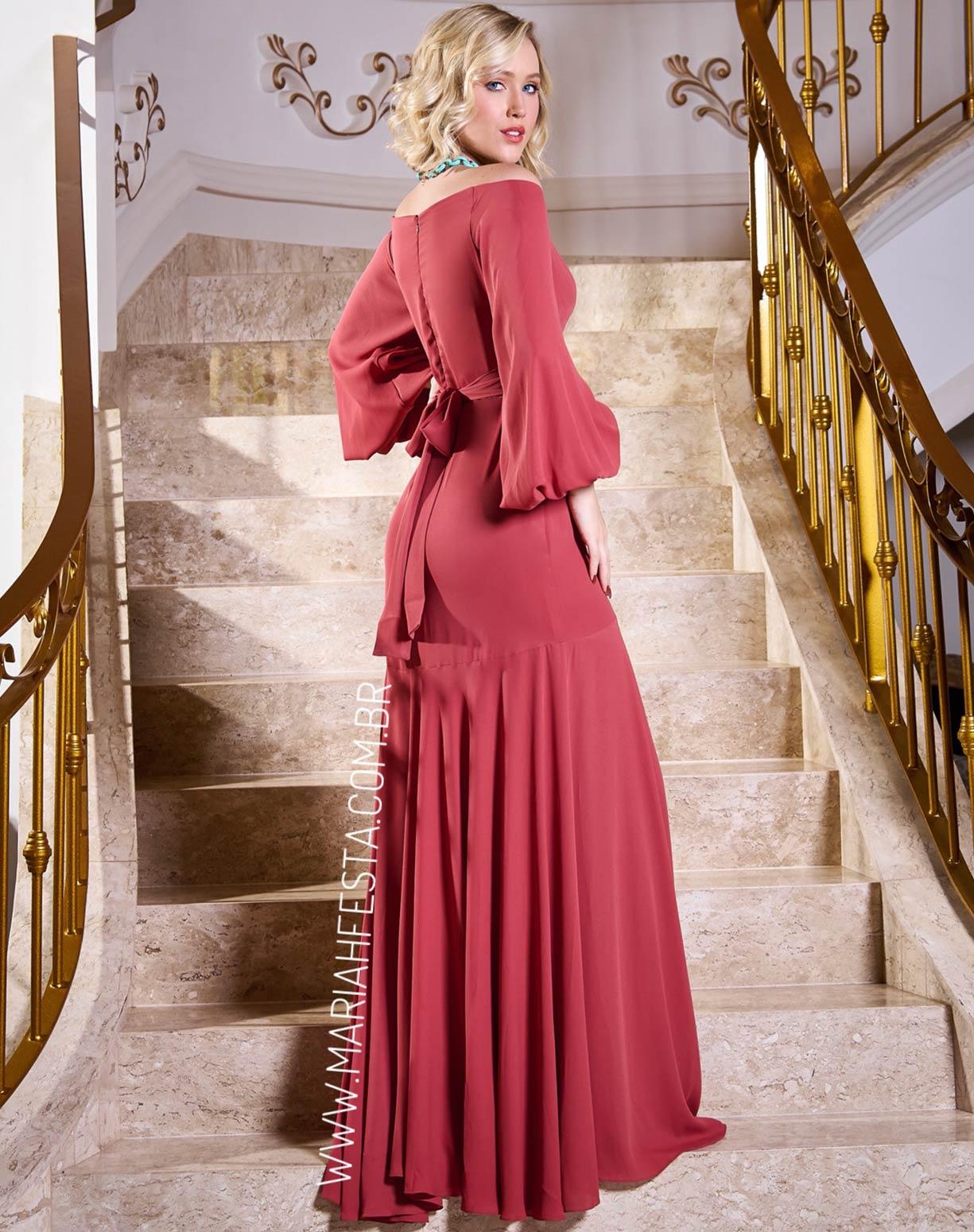 Vestido Rosa Antigo Ombro a Ombro com Manga Longa