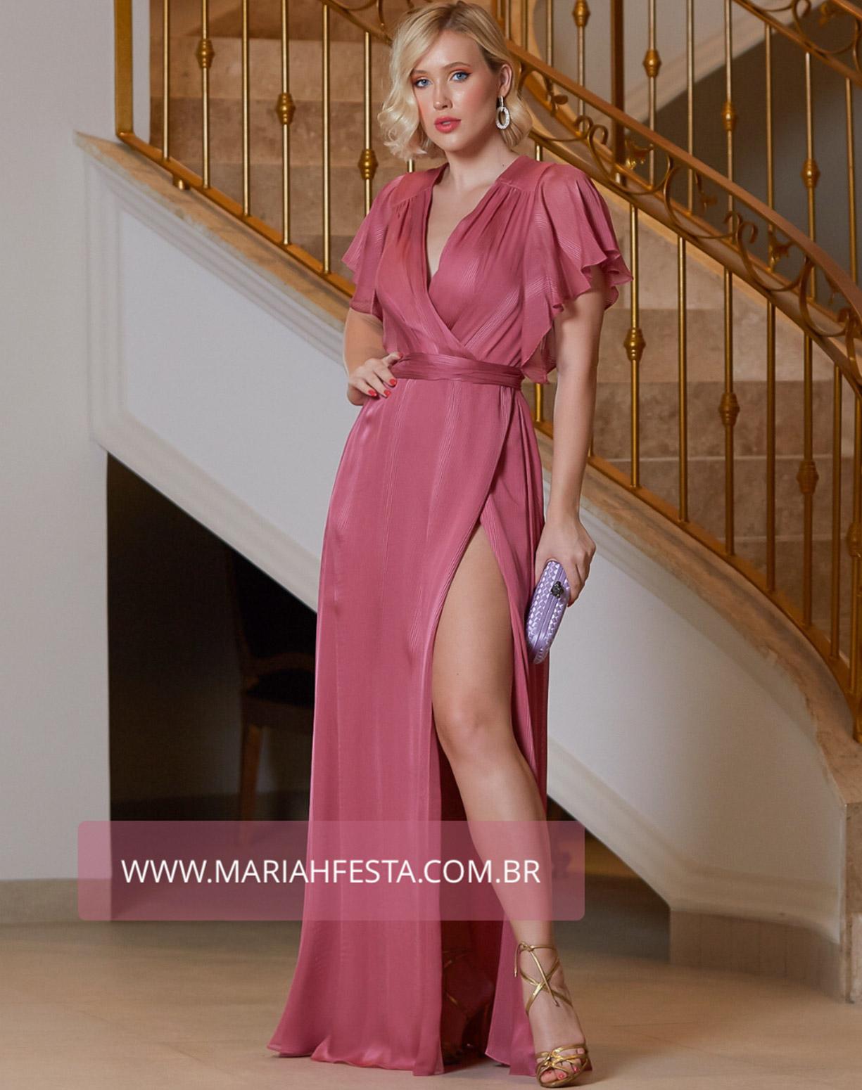 Vestido Rosa Canela em Musseline com Listras Texturizadas