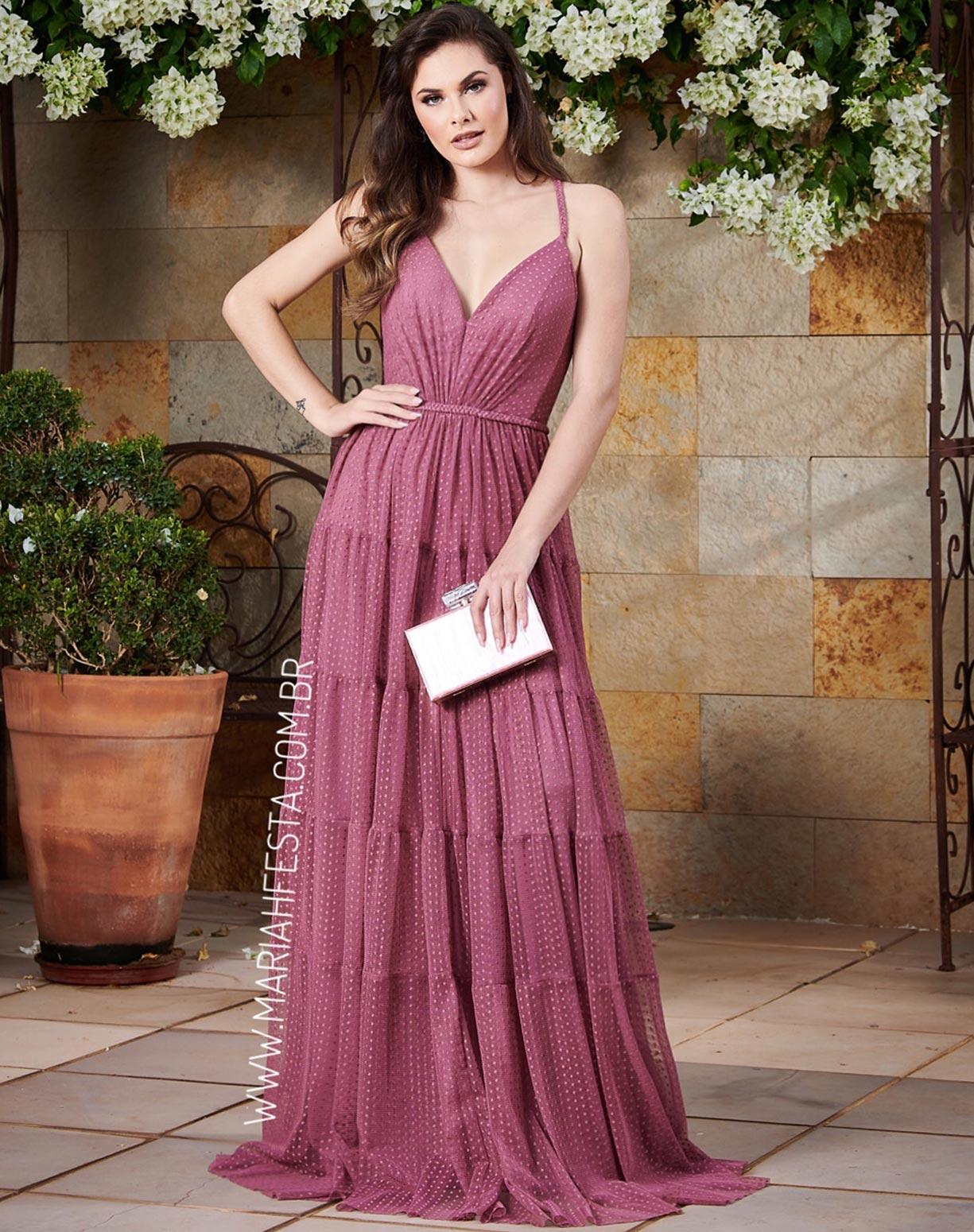 Vestido Rosa Canela em Tule Texturizado