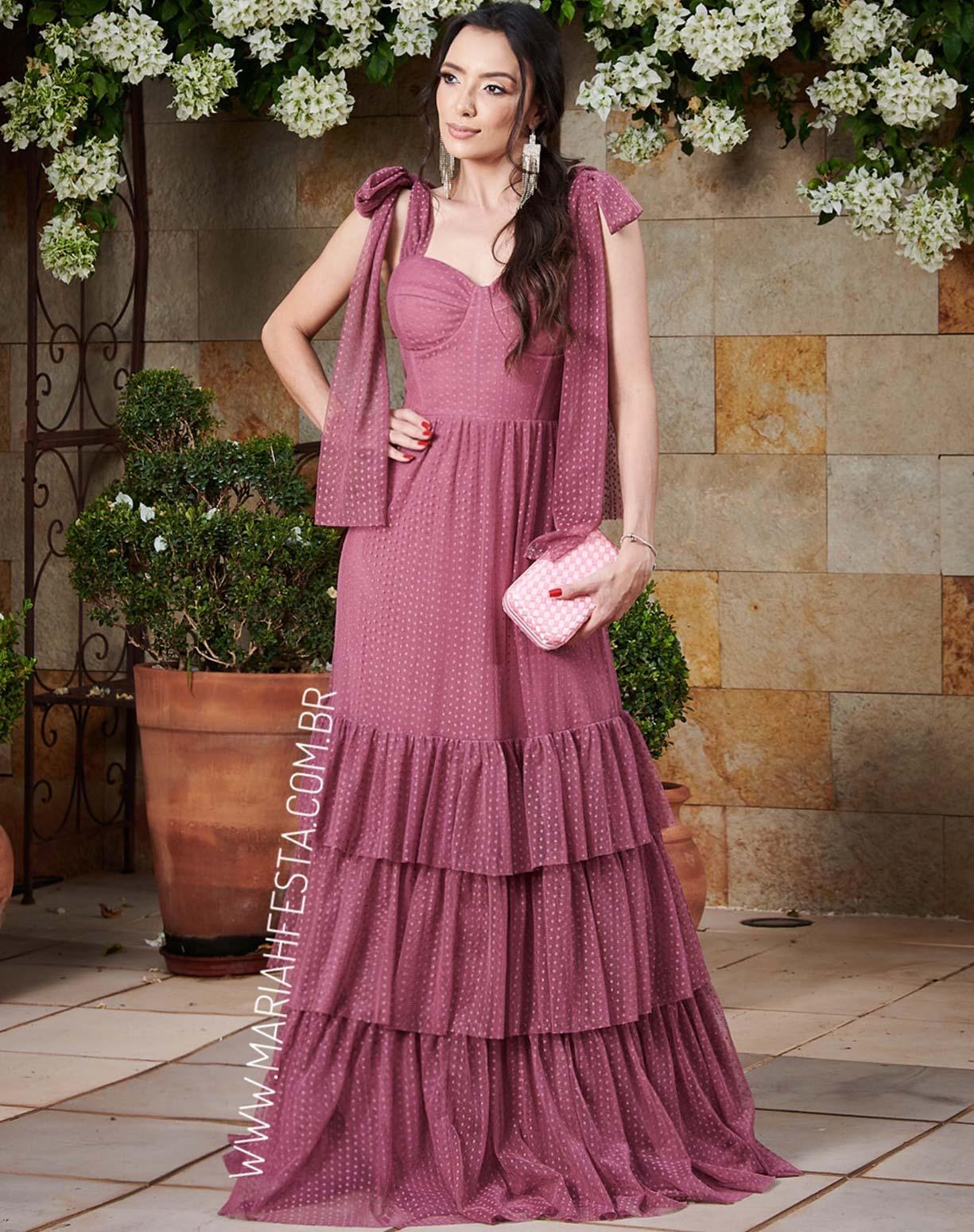 Vestido Rosa Canela em Tule Texturizado Com Alça de Amarrar