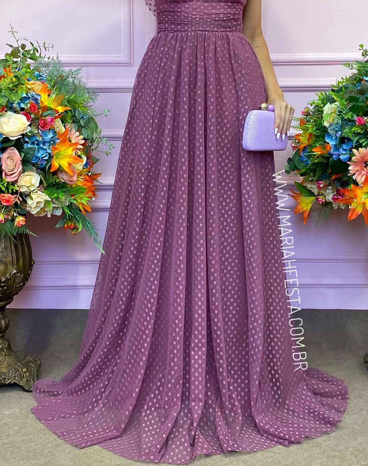 Vestido Rosa Canela em Tule Texturizado com Manguinha Princesa