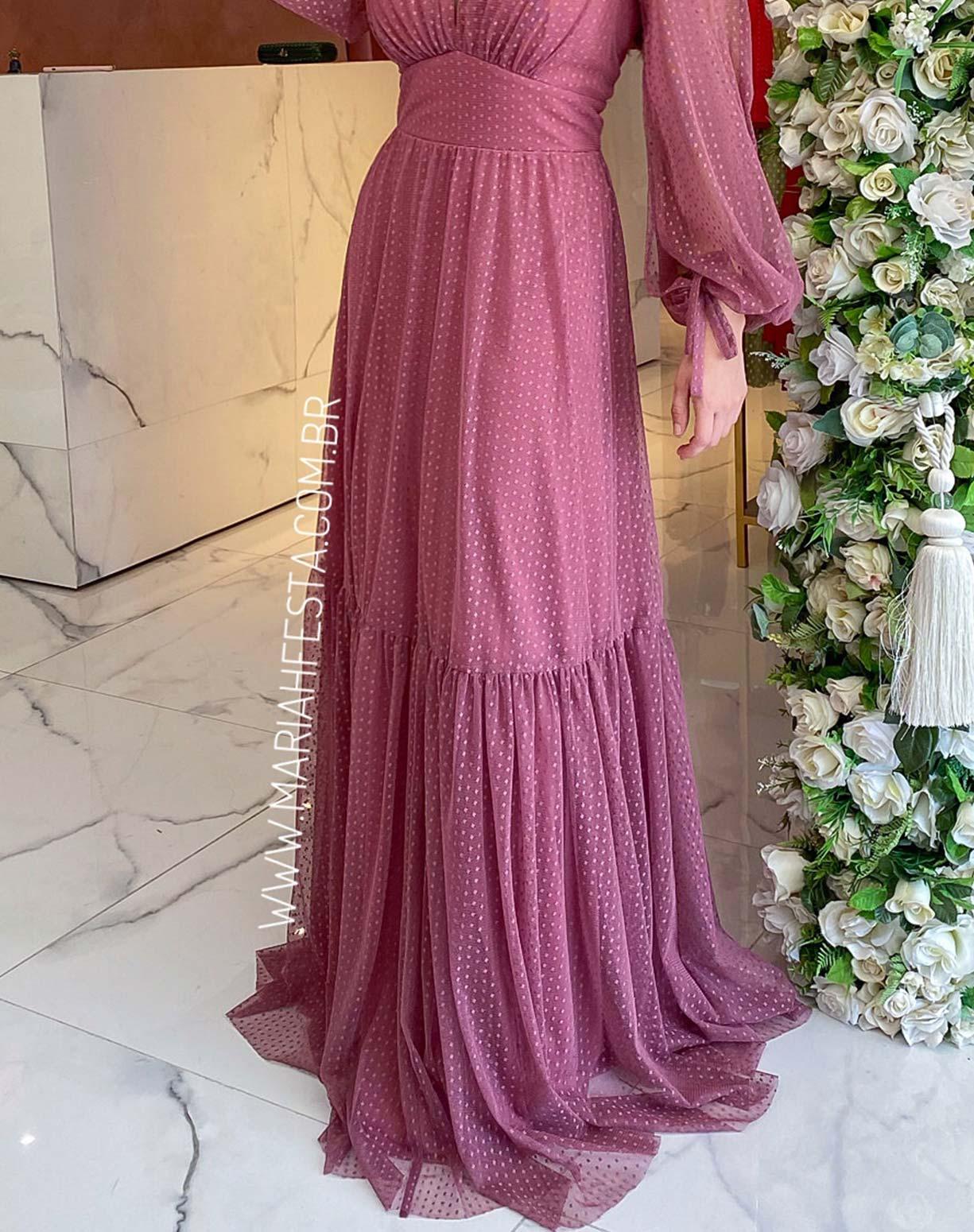 Vestido Rosa Canela  Manga Longa em Tule Texturizado