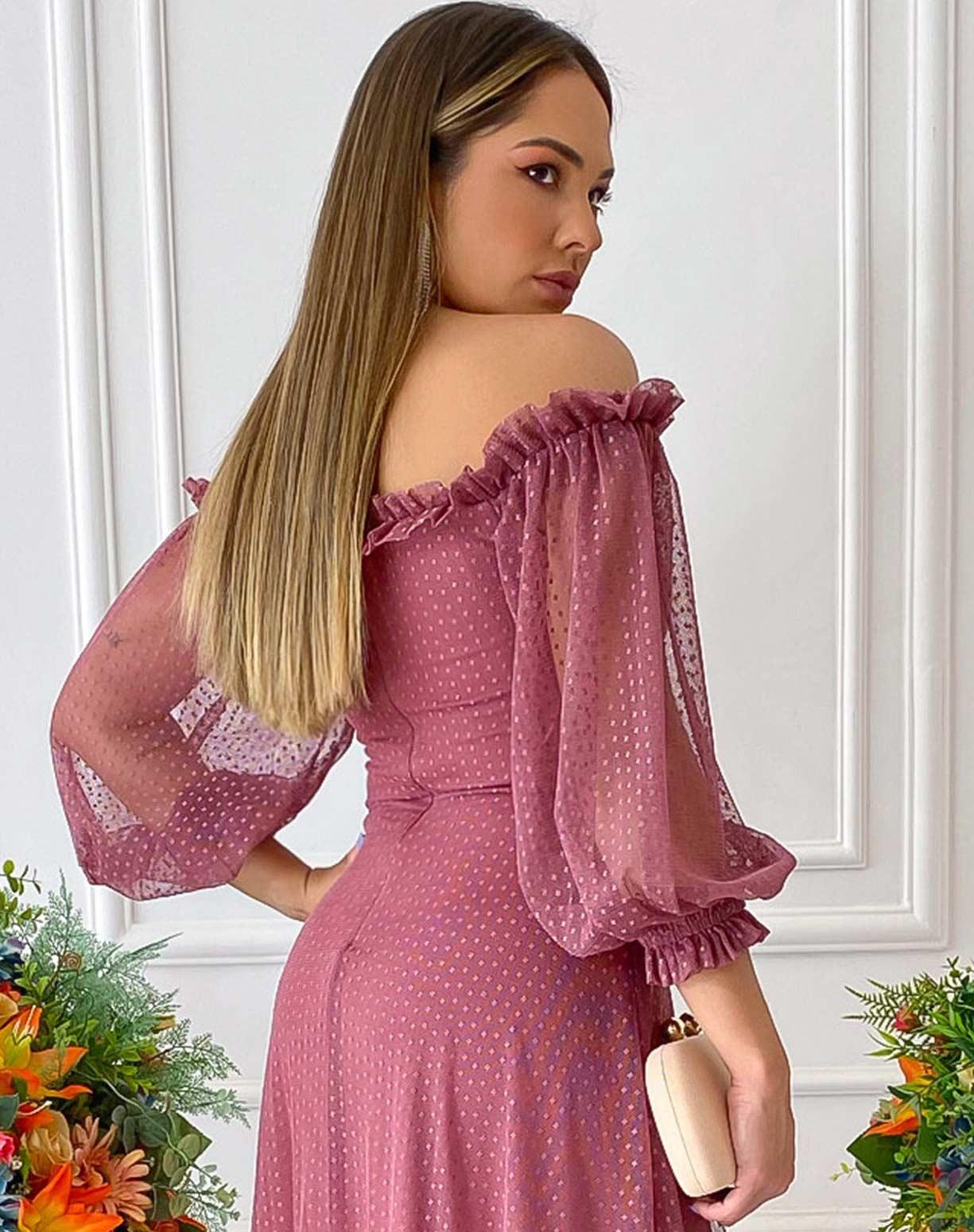 Vestido Rosa Canela Ombro a Ombro em Tule Texturizado