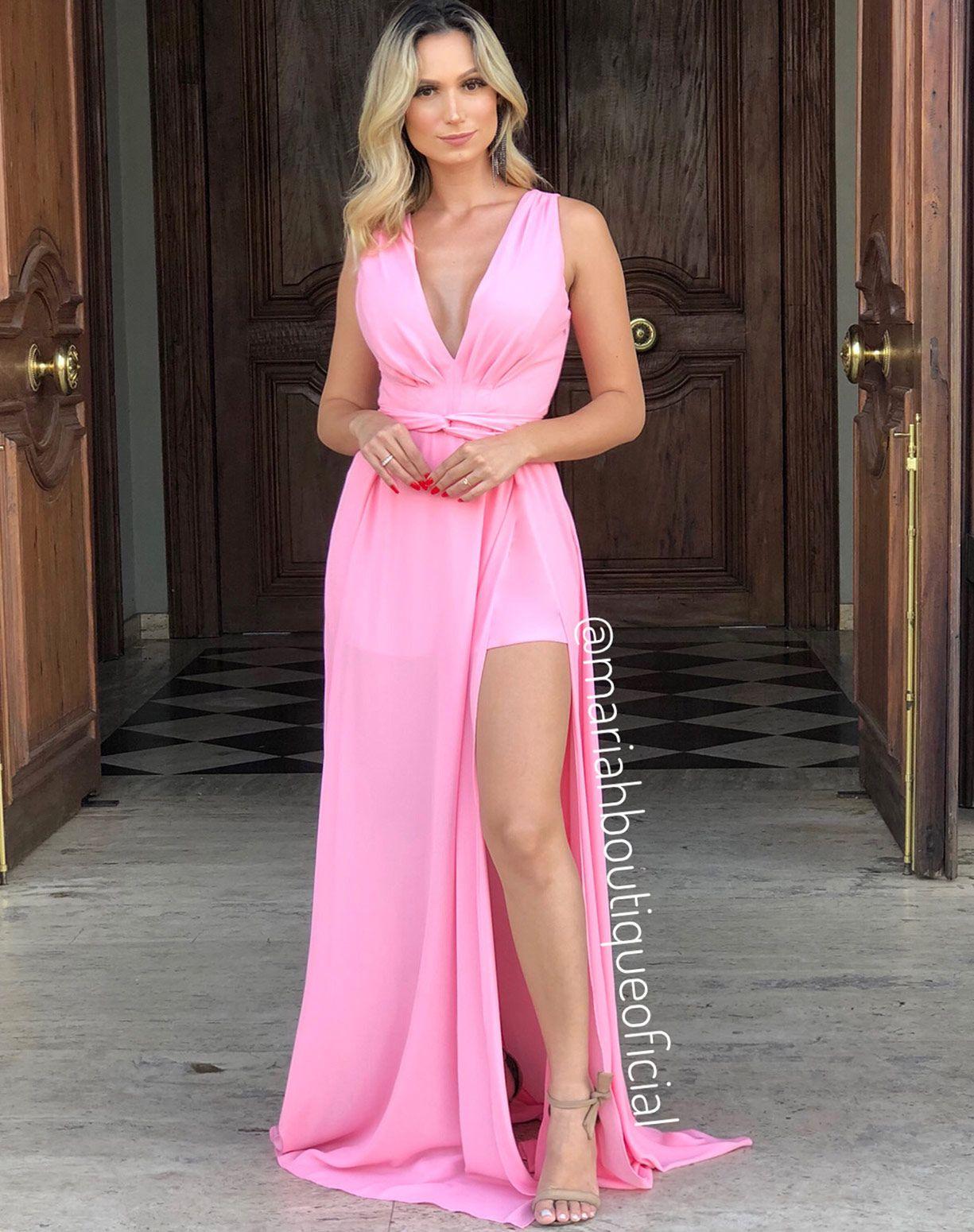 Vestido Rosa Chiclete com Duas Fendas