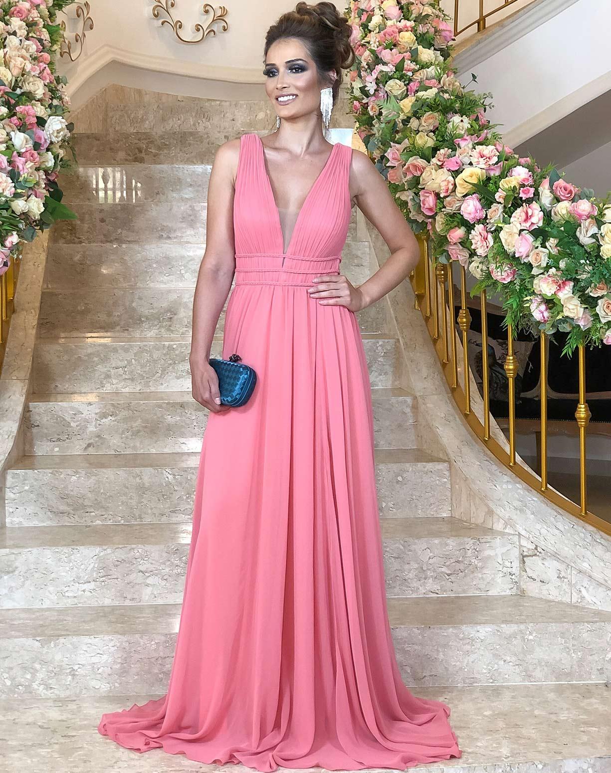 Vestido Rosa em Musseline com Detalhes em Macramê