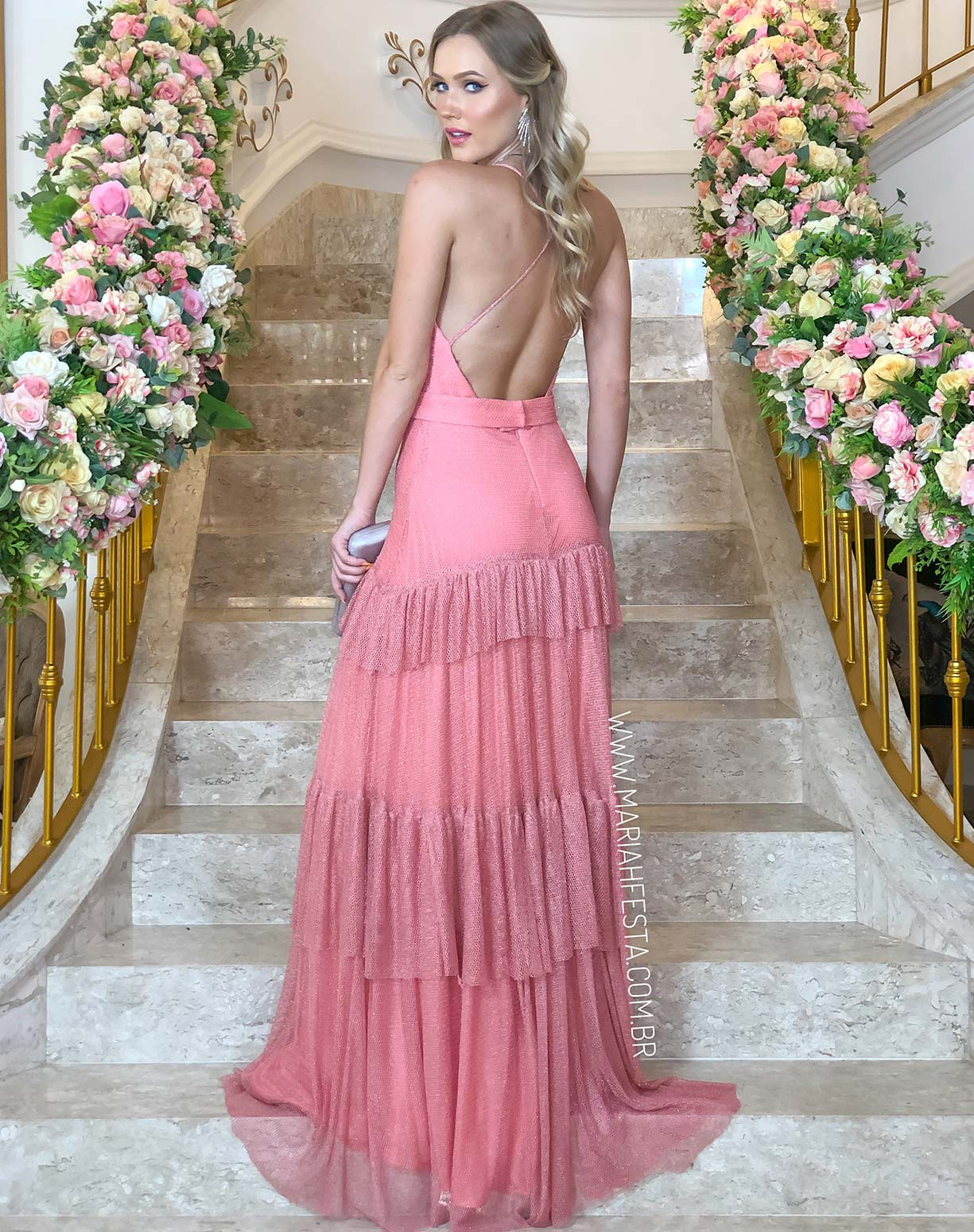 Vestido Rosa em Tule Tela com Glitter