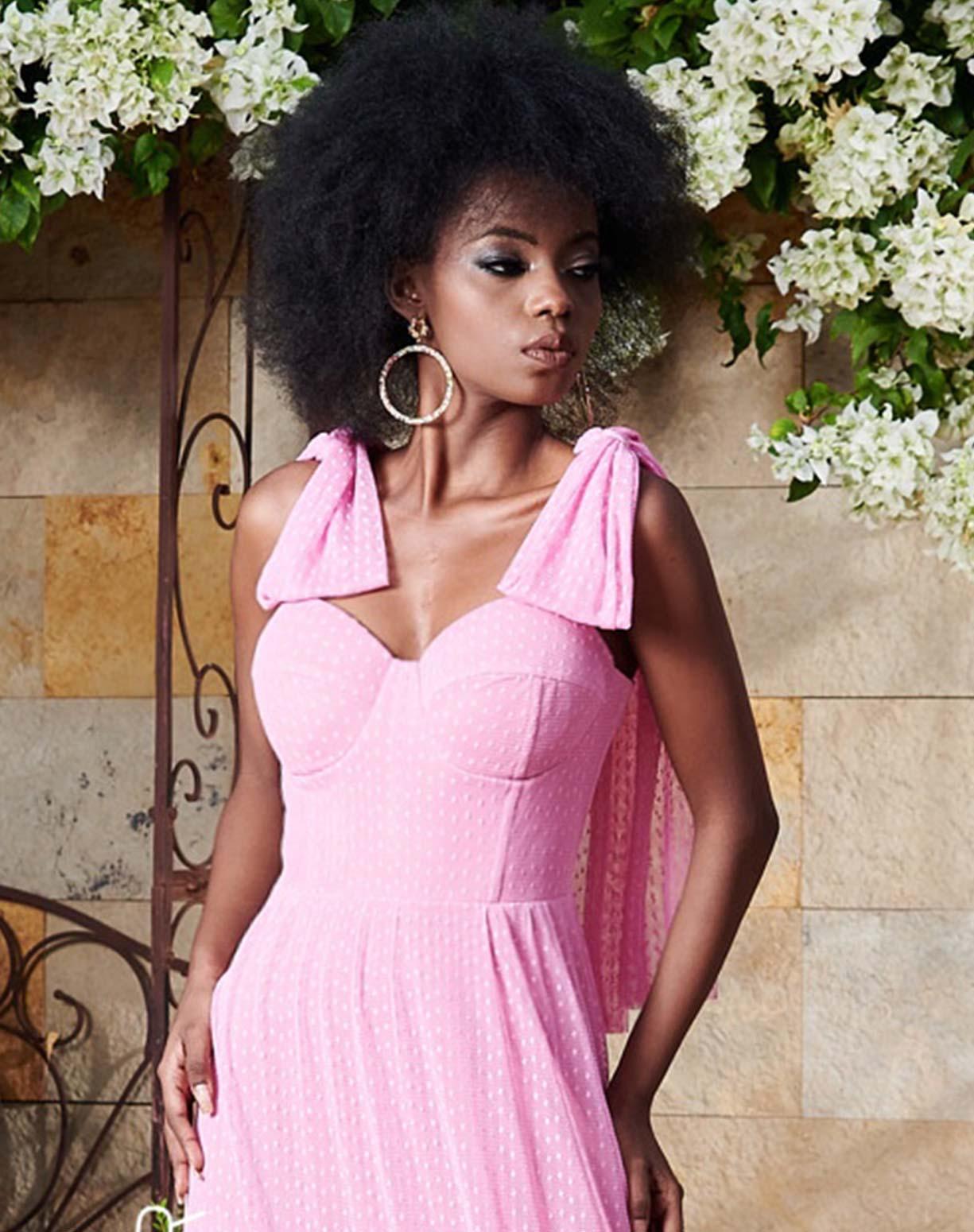 Vestido Rosa em Tule Texturizado Com Alça de Amarrar