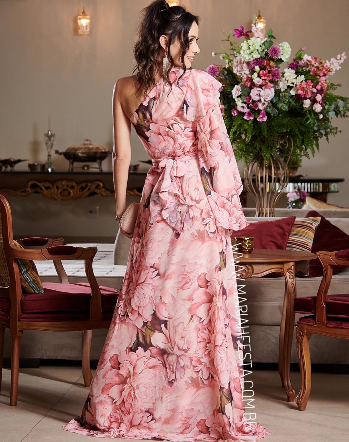 Vestido Rosa Floral de Um Ombro Só