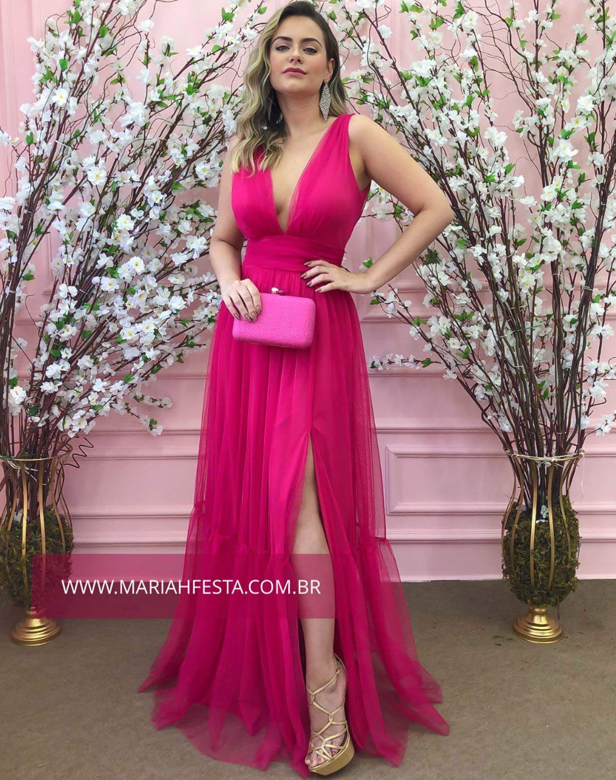 Vestido Rosa Pink em Tule de Saia Evasê com Fenda