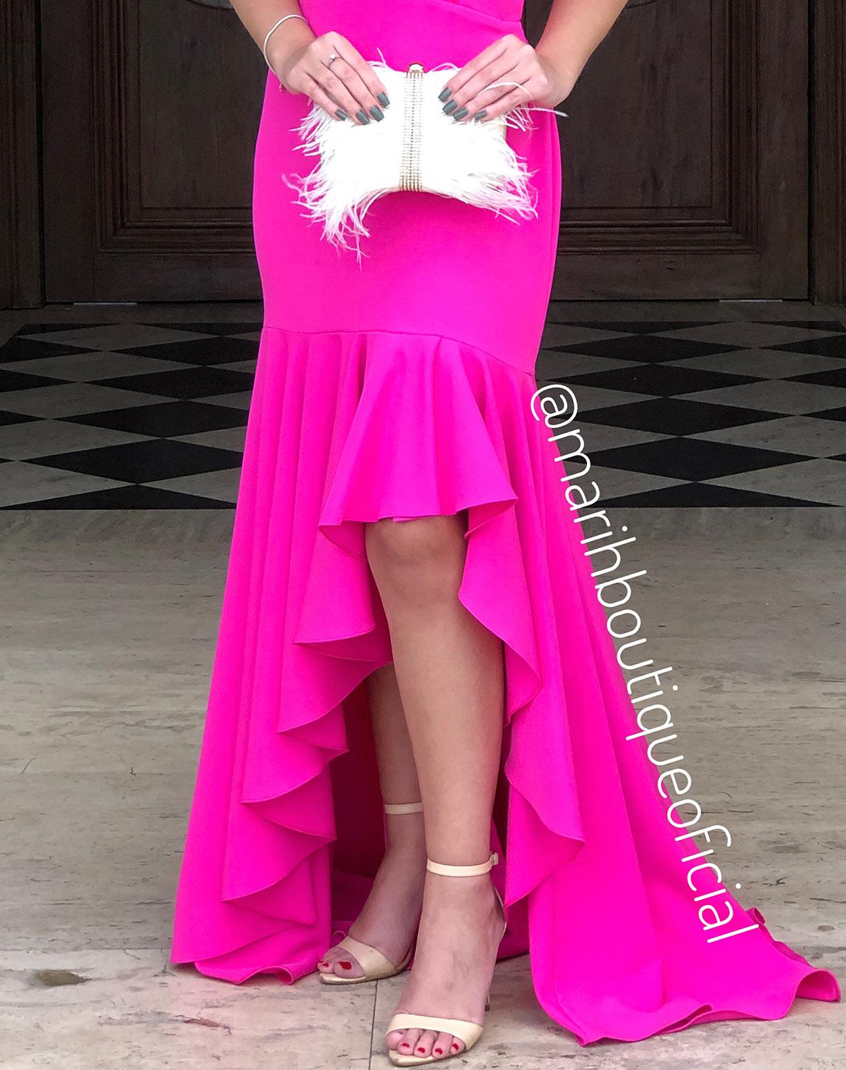 Vestido Rosa Pink com Babados