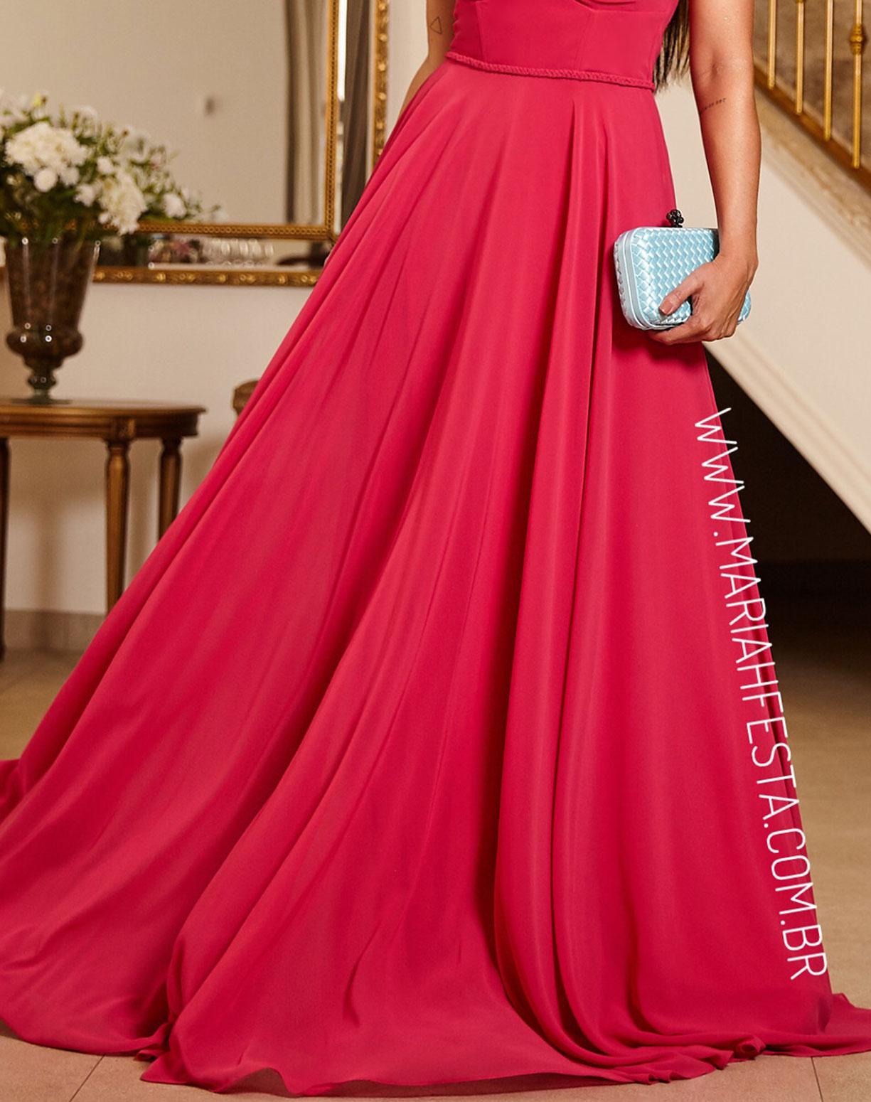 Vestido Rosa Pink com Busto Drapeado