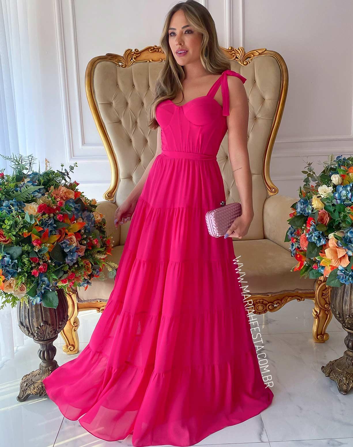 Vestido Rosa Pink com Corpete e Saia em Camadas