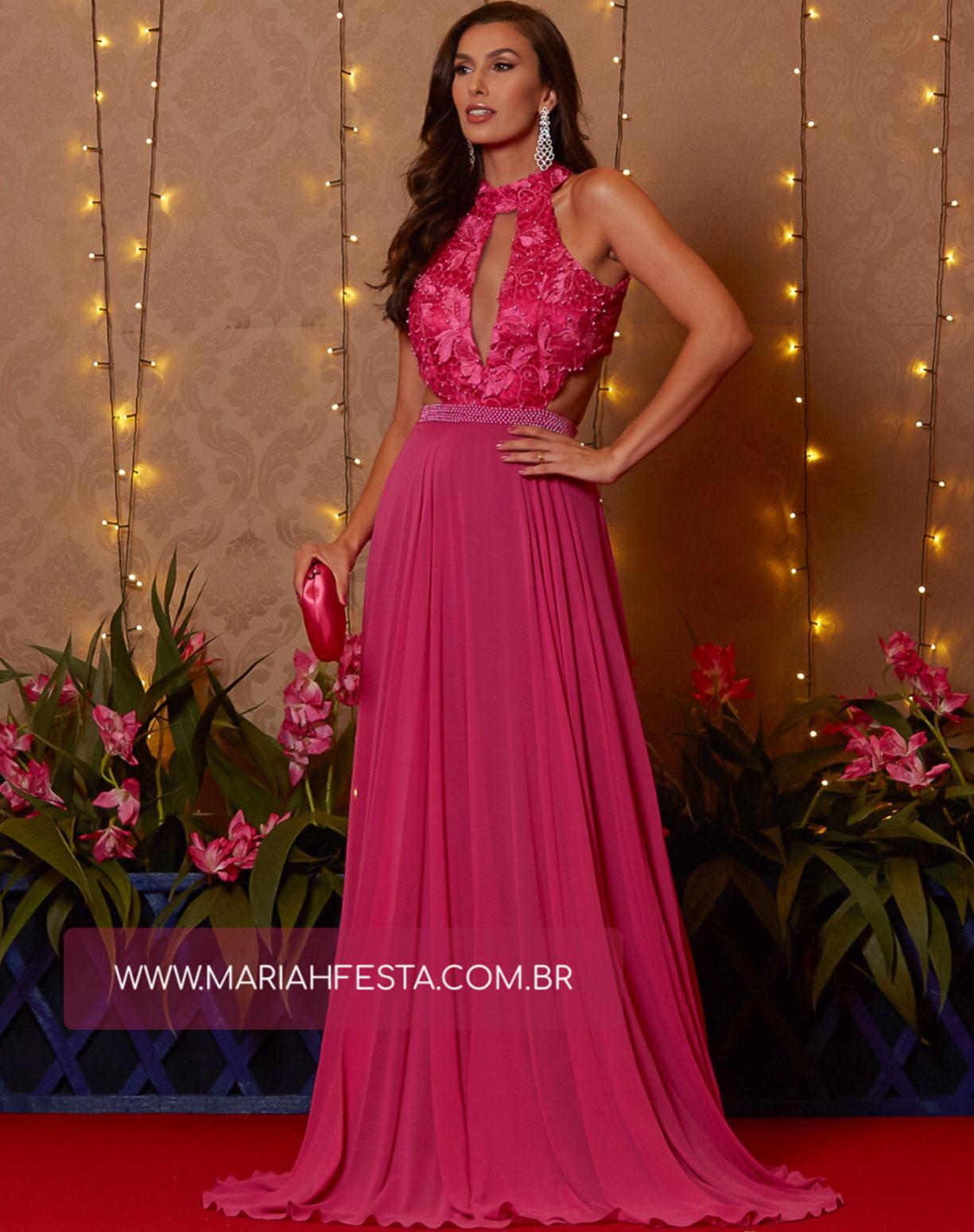 Vestido Rosa Pink com Corpo em Renda Bordado