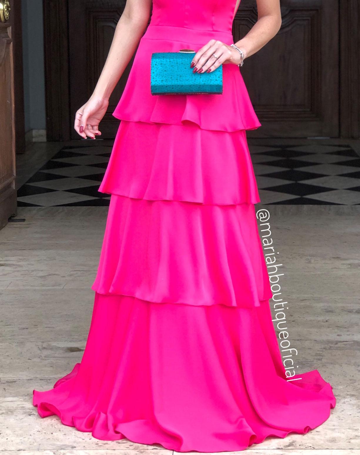 Vestido Rosa Pink em Camadas