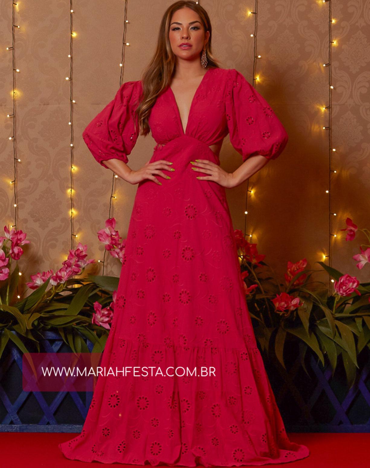 Vestido Rosa Pink  em Laise com Decotes