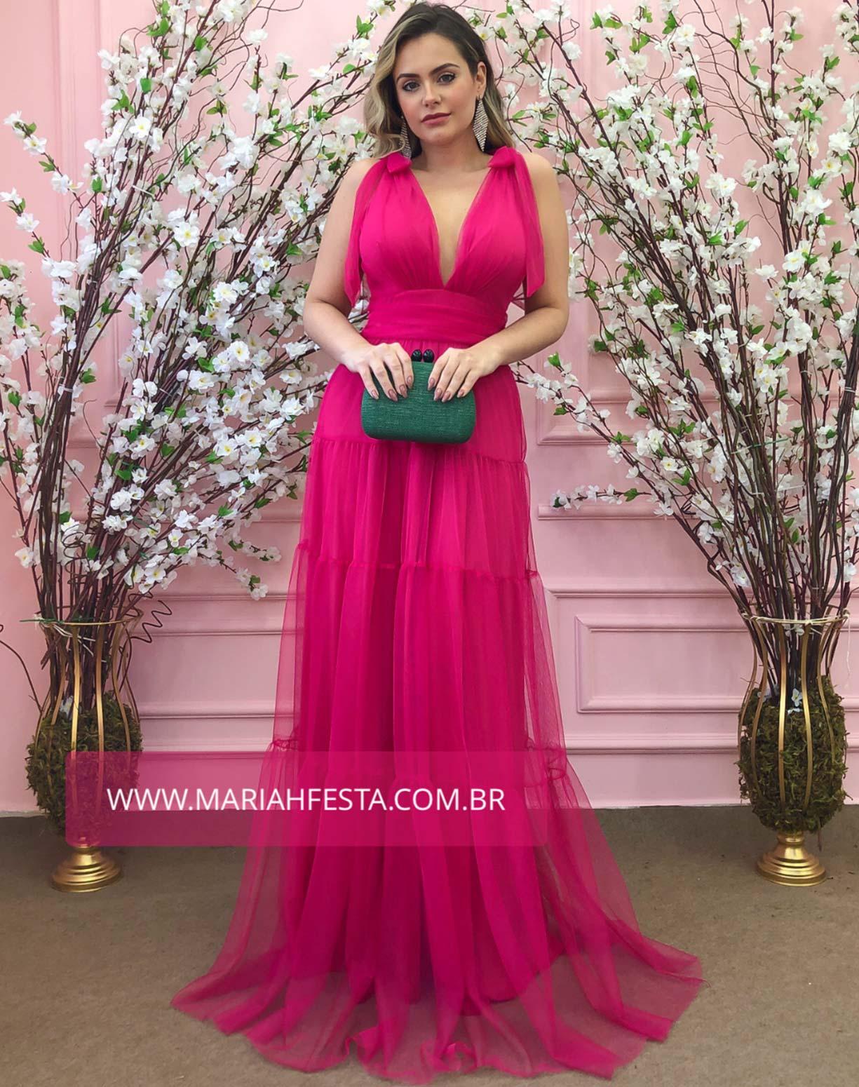 Vestido Rosa Pink em Tule com Alças de Amarrar