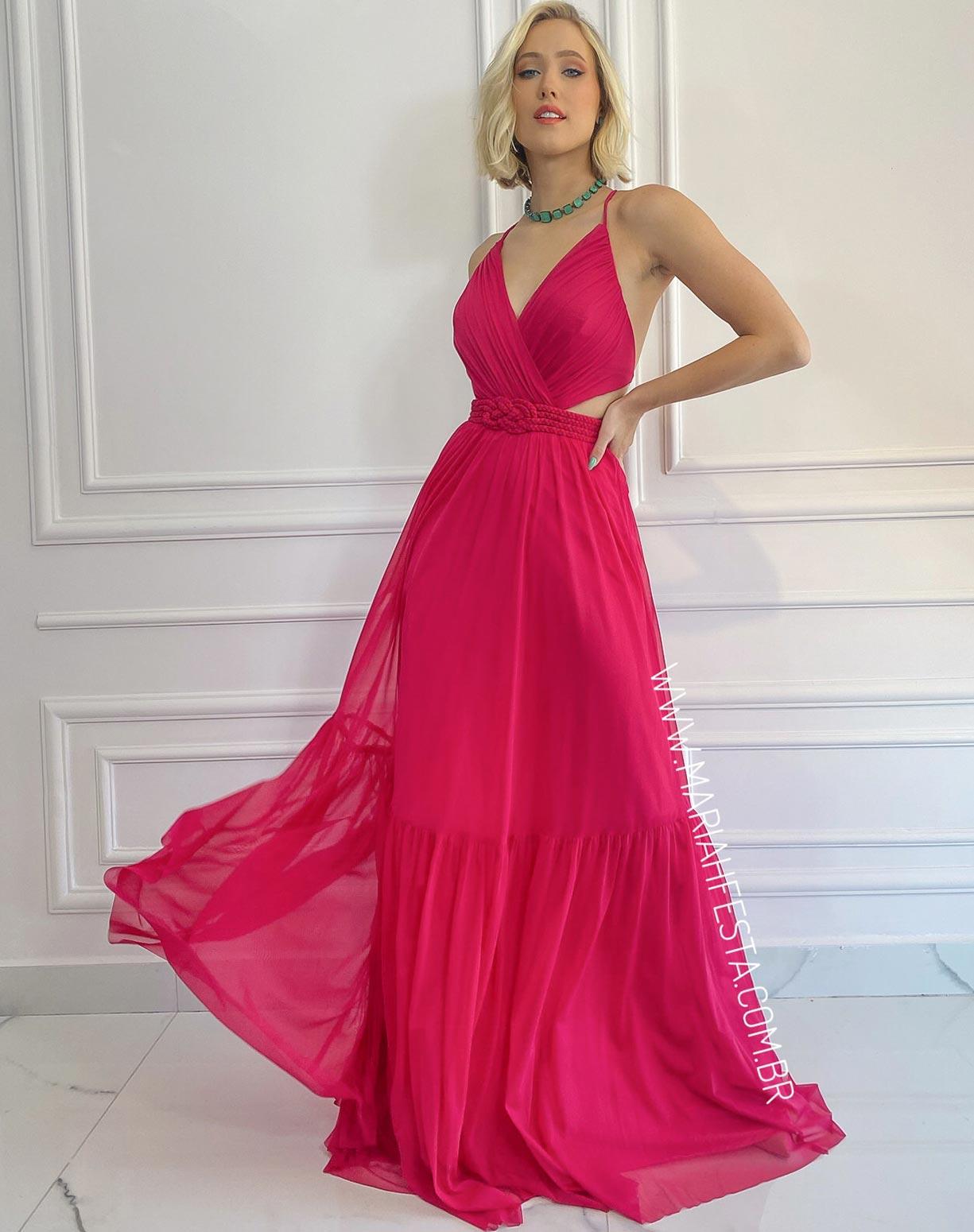 Vestido Rosa Pink em Tule com Cinto em Macramê