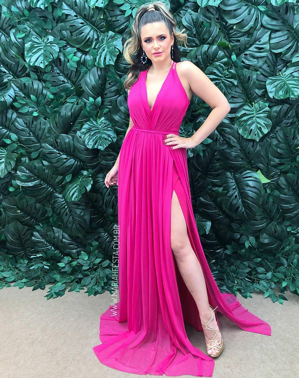 Vestido Rosa Pink em Tule com Duas Fendas