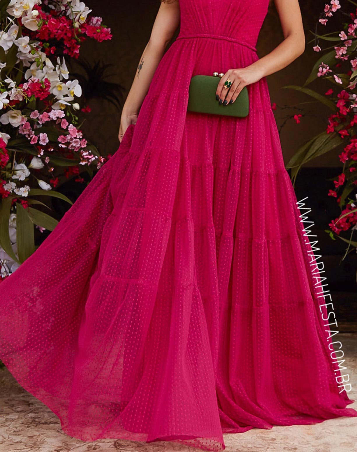Vestido Rosa Pink em Tule Texturizado