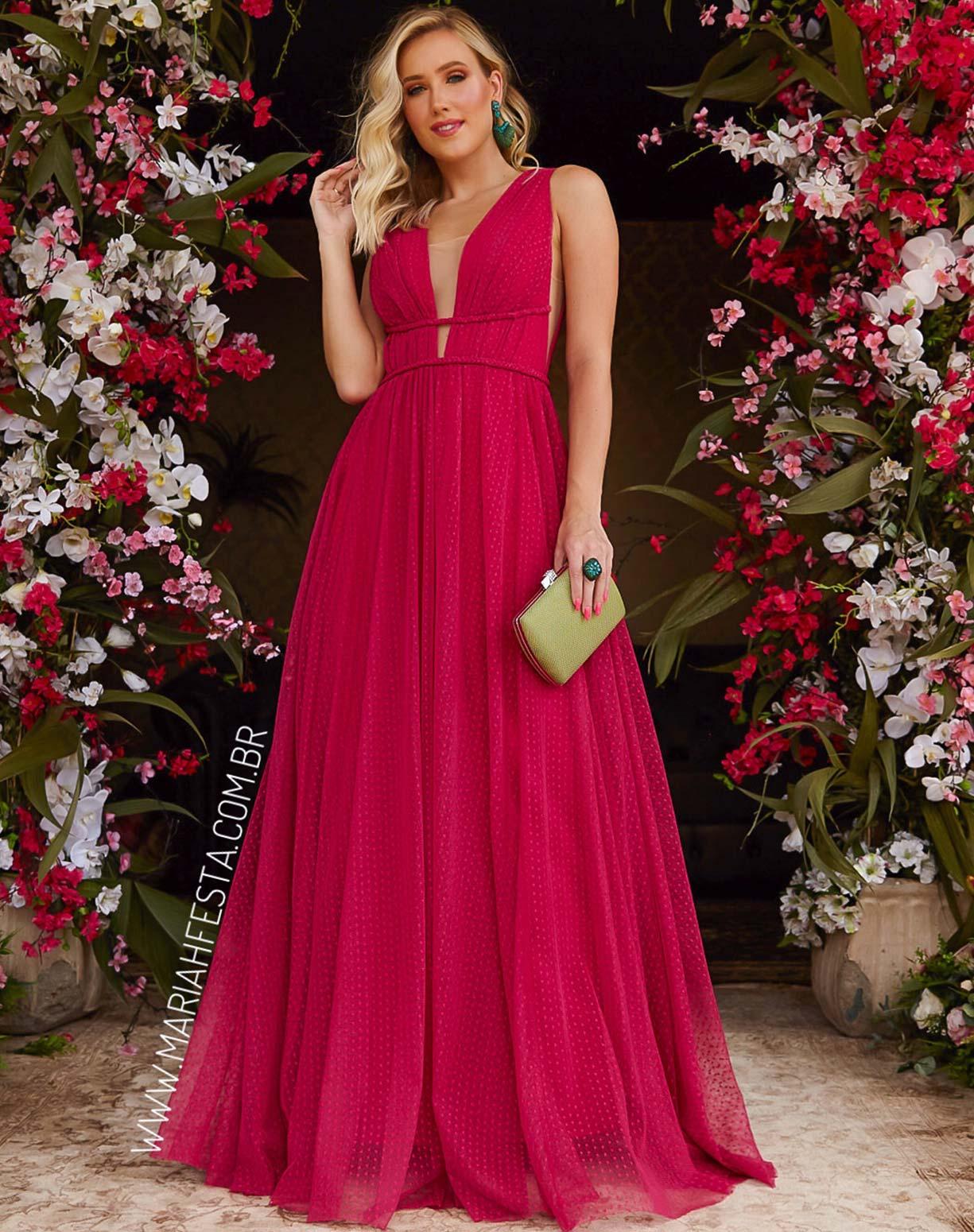 Vestido Rosa Pink em Tule Texturizado com Saia Evasê