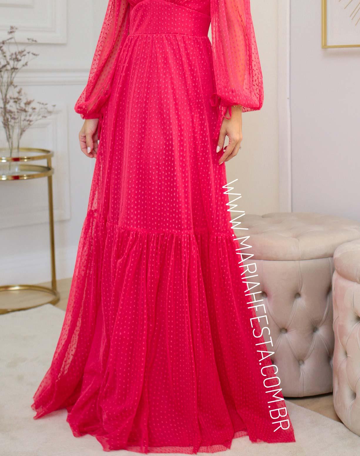 Vestido Rosa Pink Manga Longa em Tule Texturizado