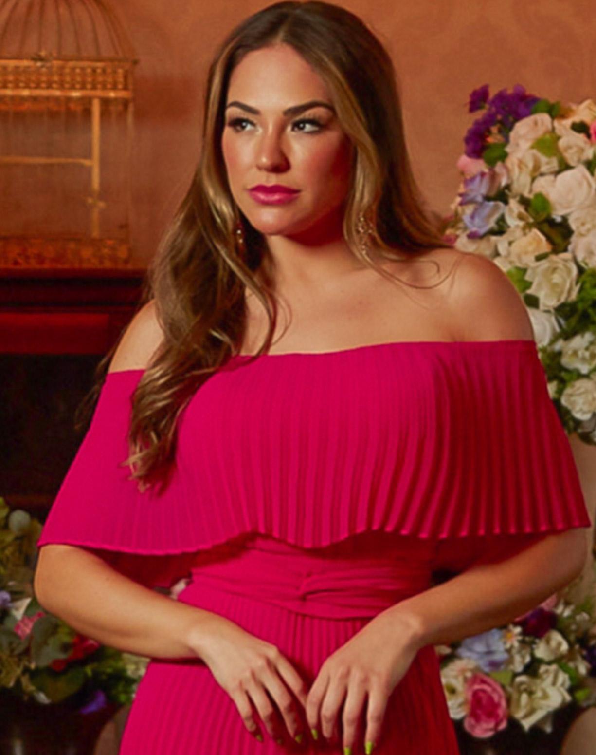 Vestido Rosa Pink Ombro a Ombro Plissado