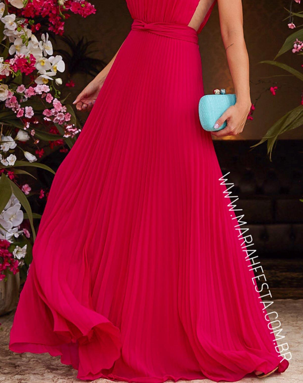 Vestido Rosa Pink Plissado com Transparência na Lateral do Corpo