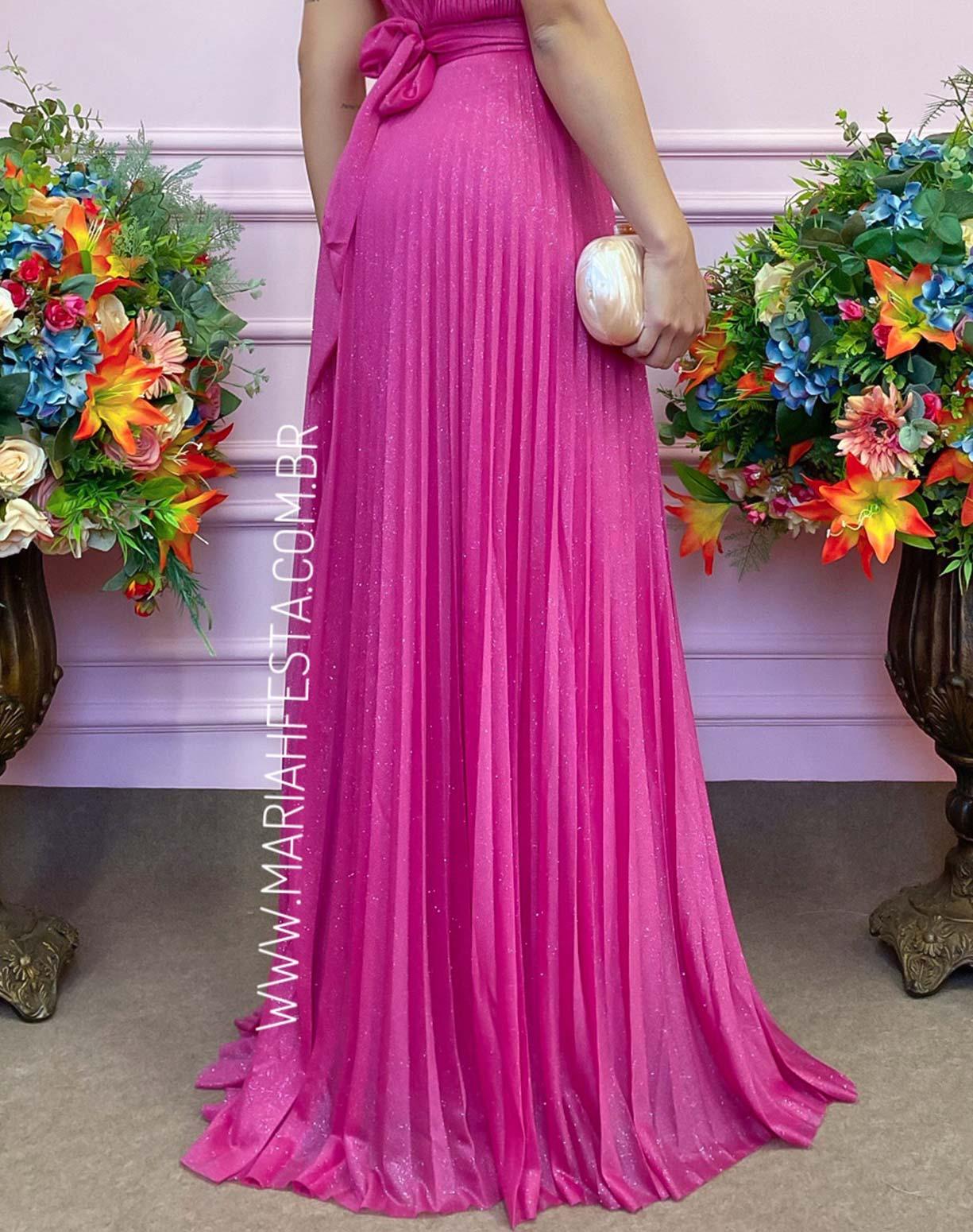 Vestido Rosa Pink Tule Glitter Plissado