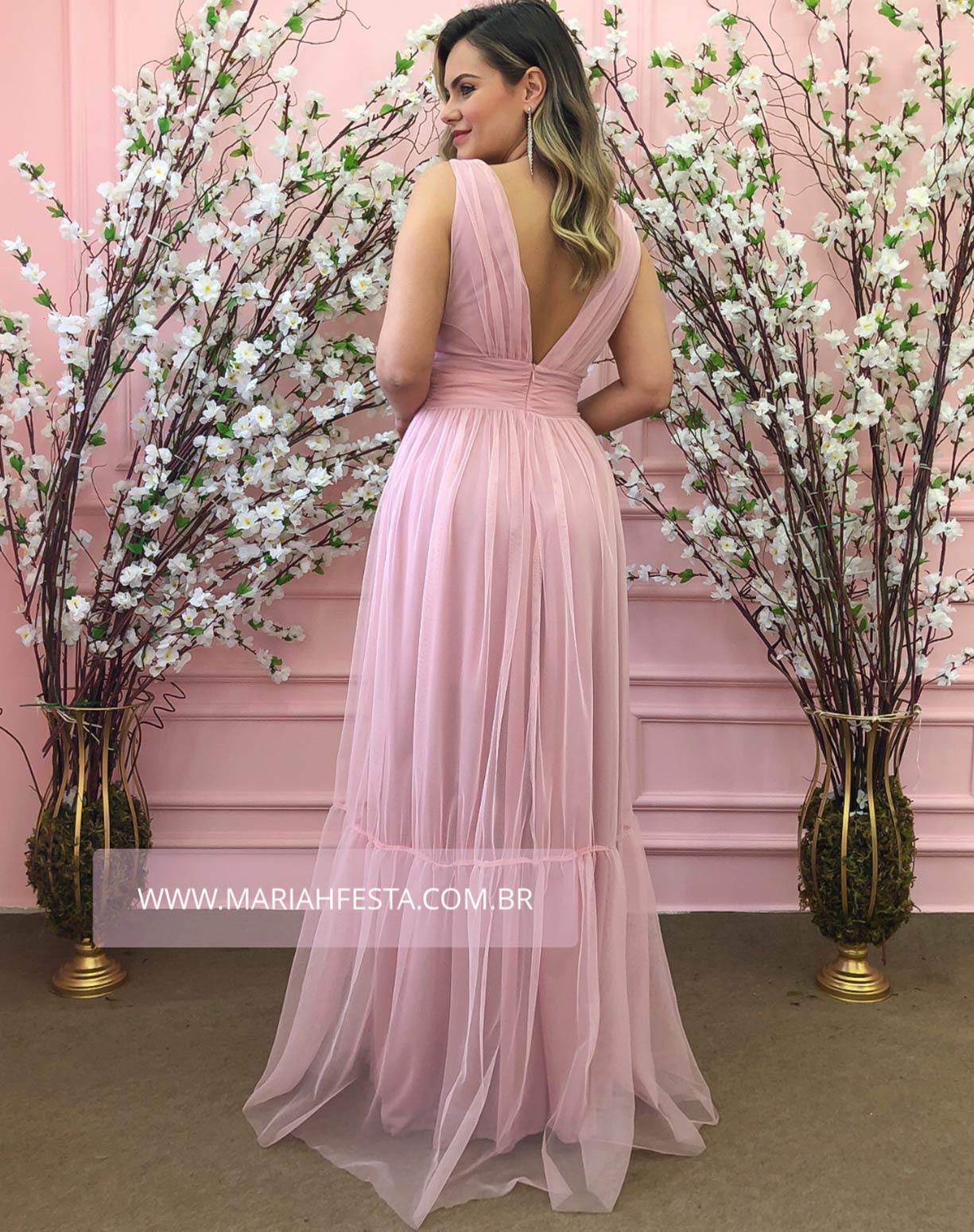 Vestido Rosê em Tule de Saia Evasê com Fenda