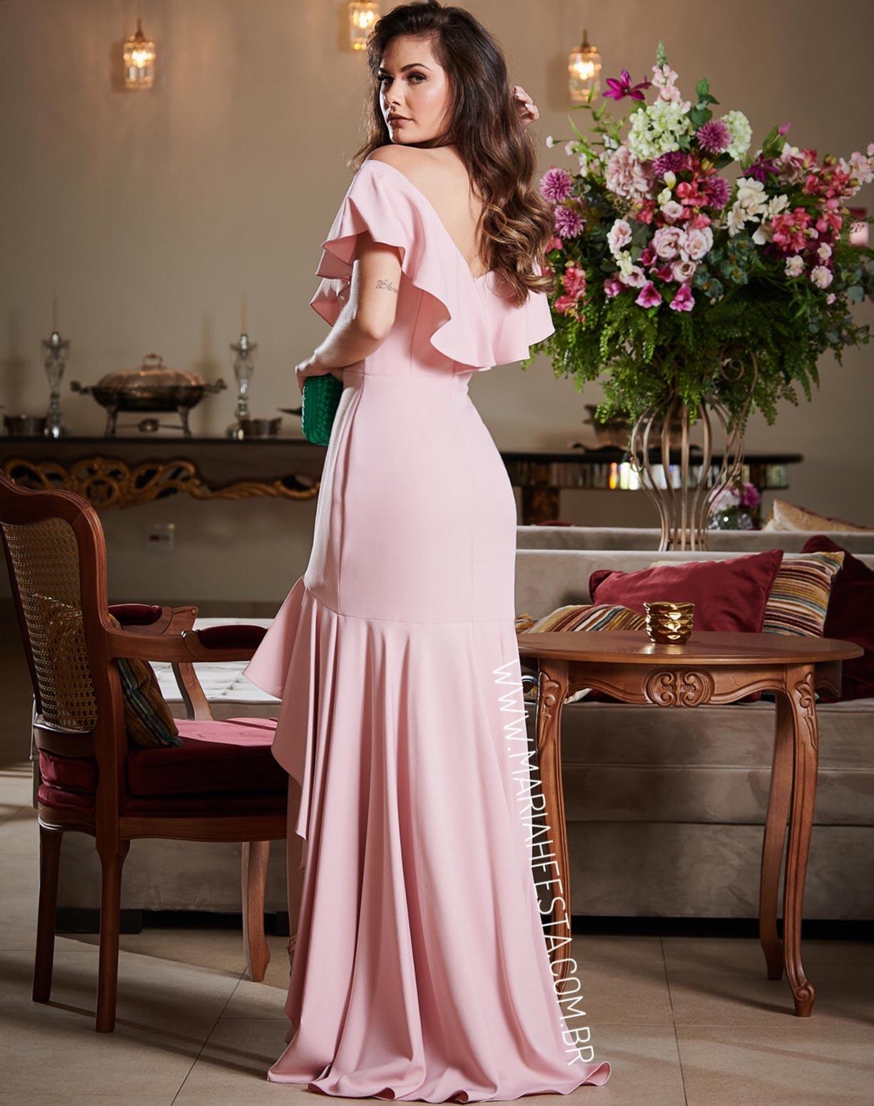 Vestido Rosê com Babados