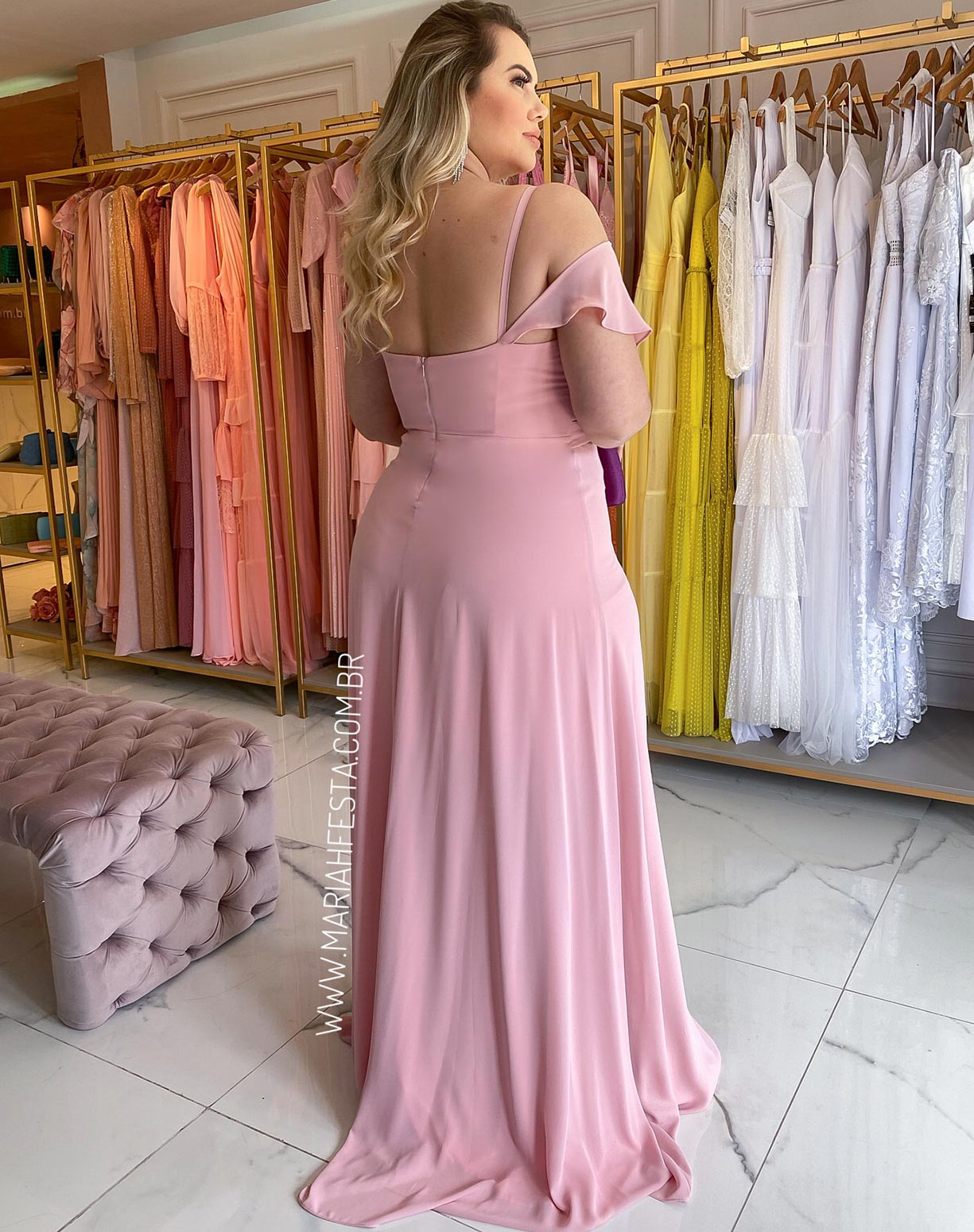 Vestido Rosê com Babados e Fenda