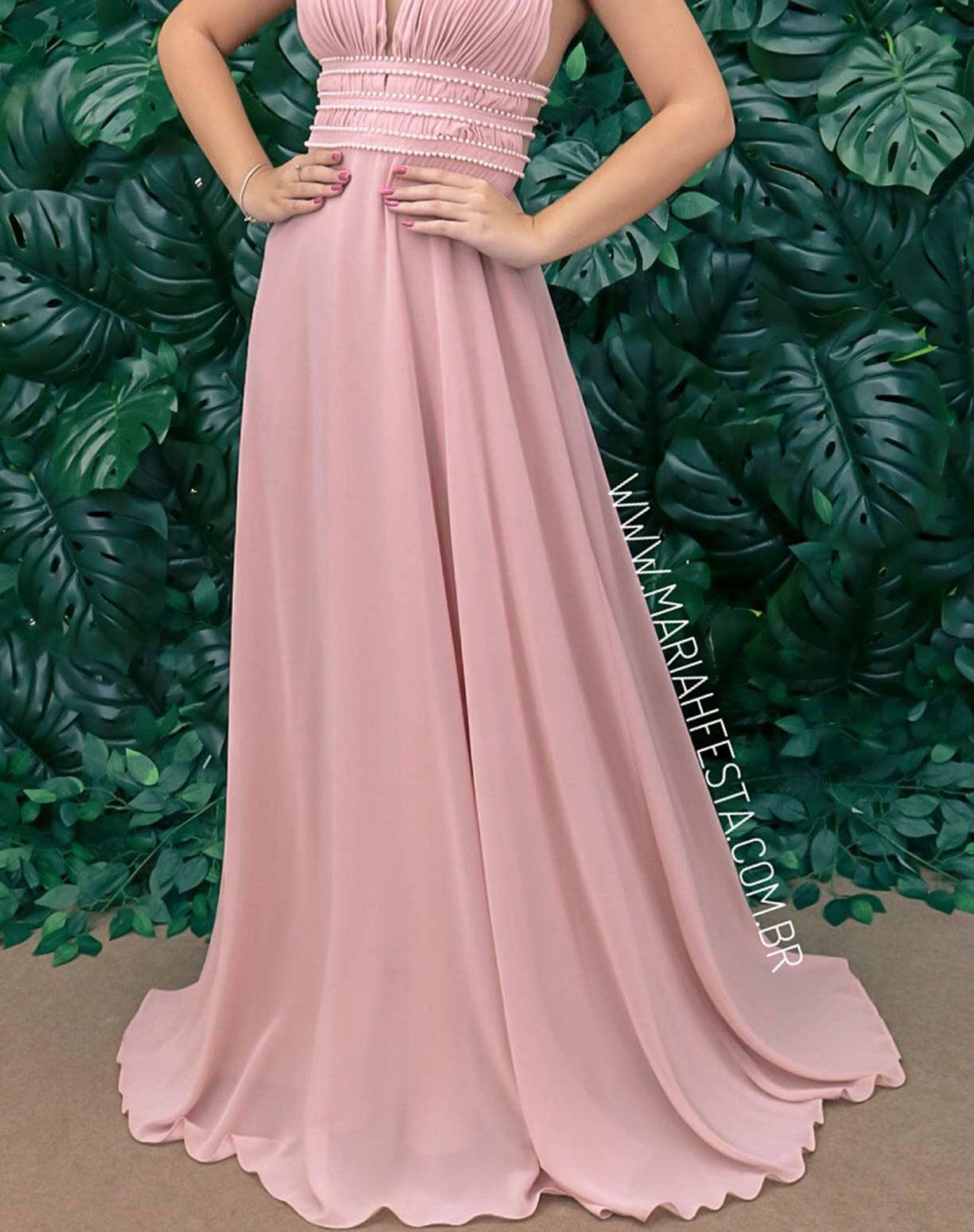 Vestido Rosê com Bordados em Pérolas
