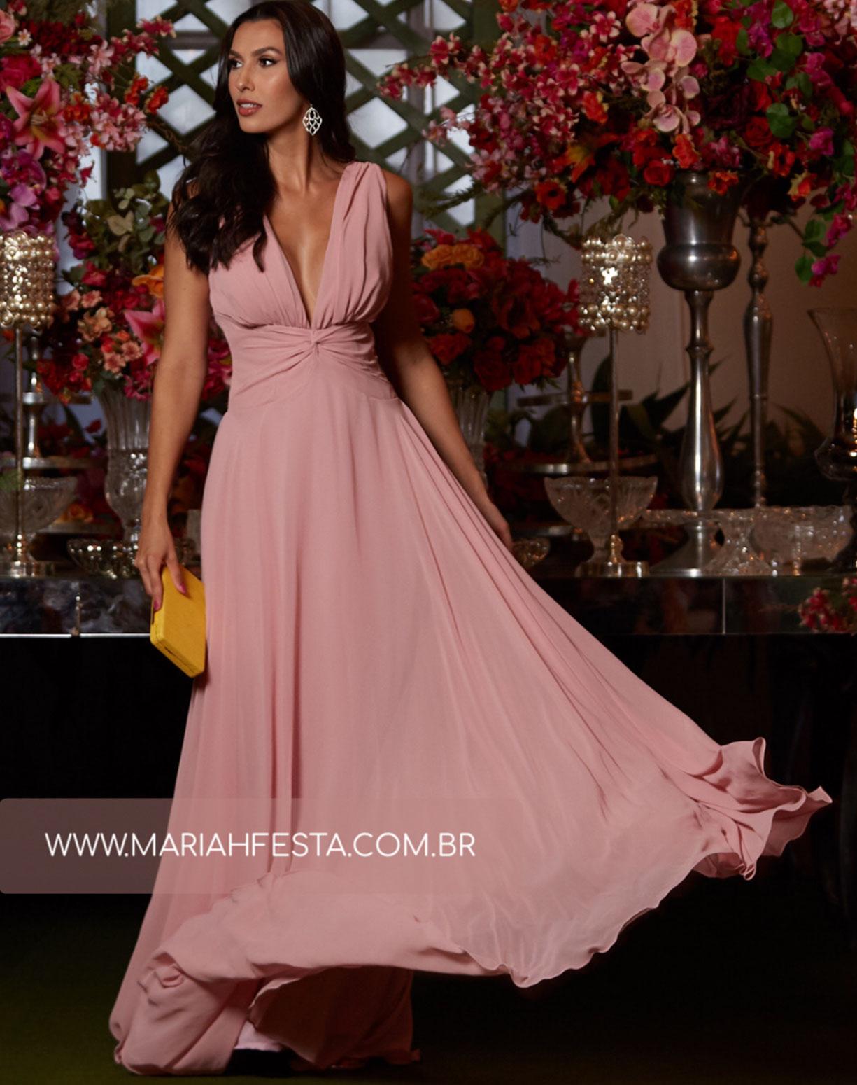 Vestido Rose com Busto Drapeado e Saia Evasê
