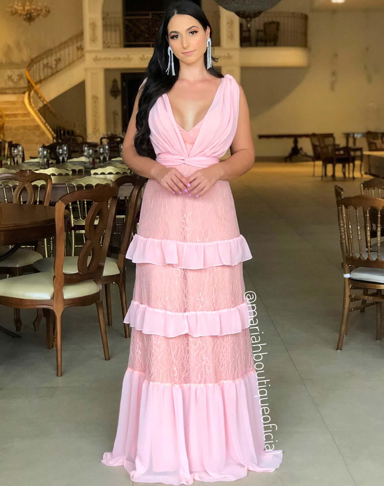 Vestido Rosê com Camadas em Renda