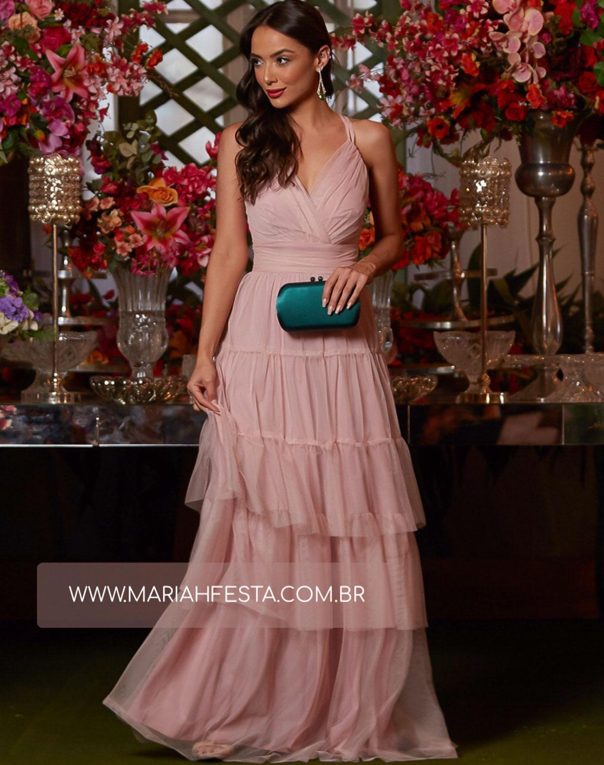 Vestido Rose com Camadas em Tule e Alça Dupla