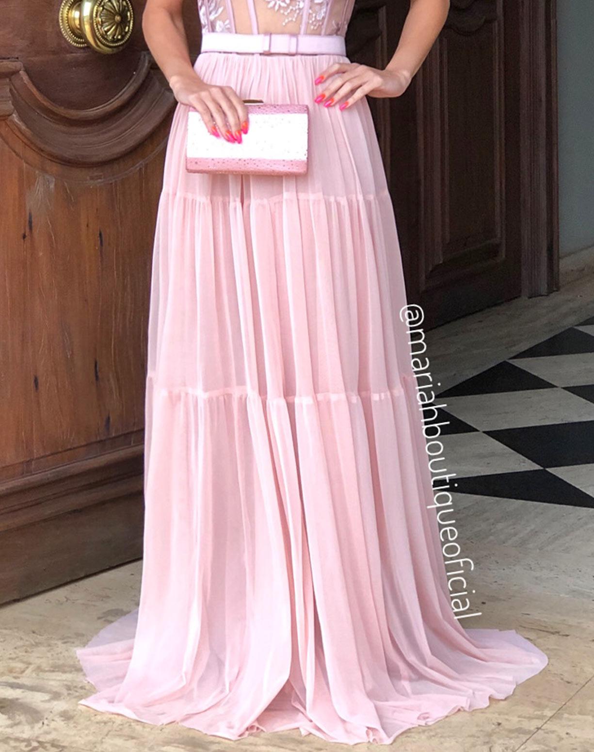 Vestido Rosê com Corpete e Saia em Tule