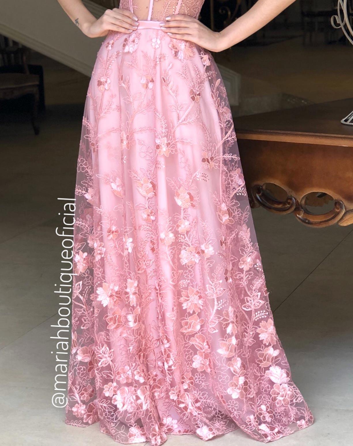 Vestido Rosê com Corpete em Tule Bordado